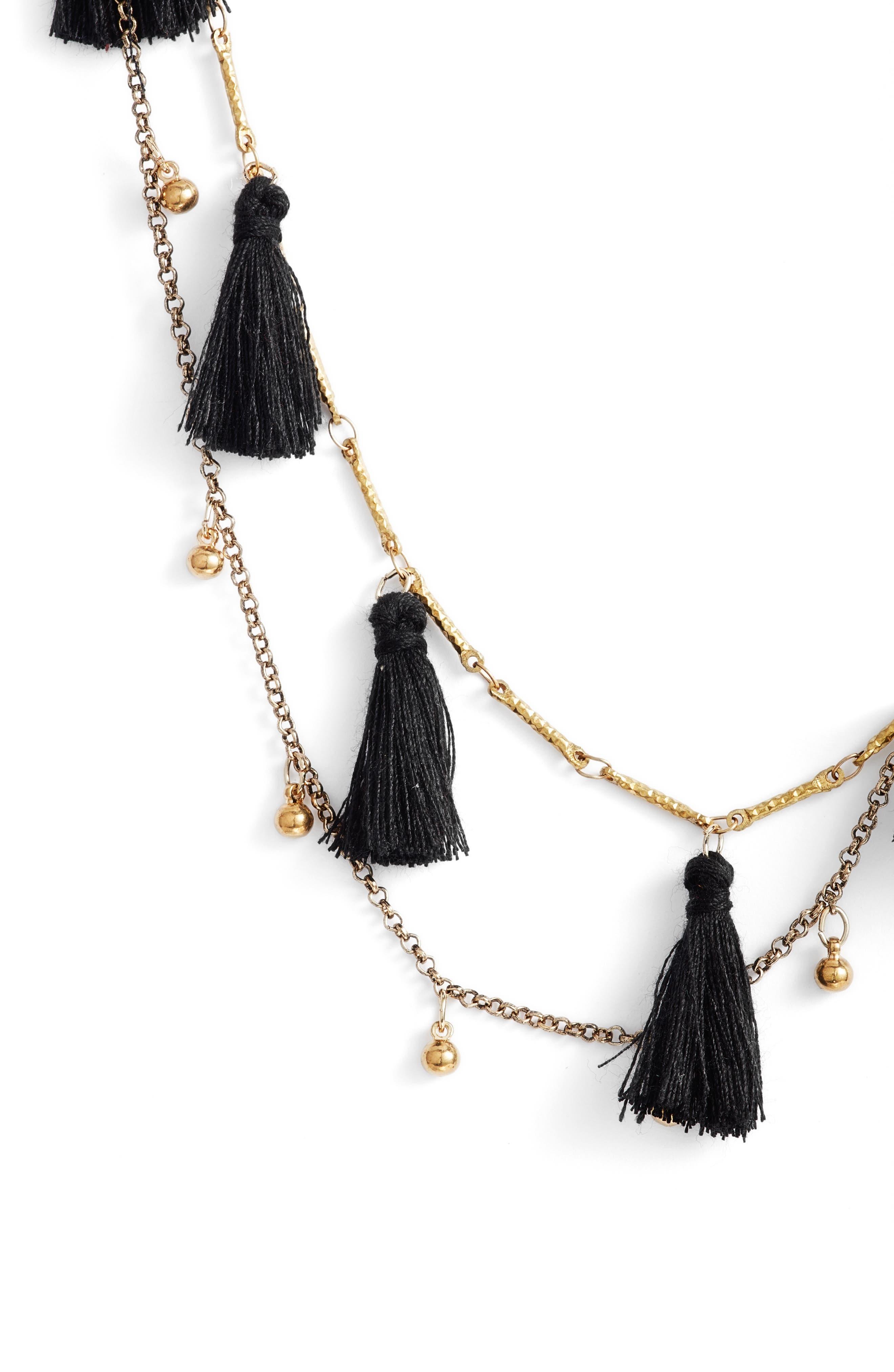 Long Tassel Necklace,                             Alternate thumbnail 2, color,                             001