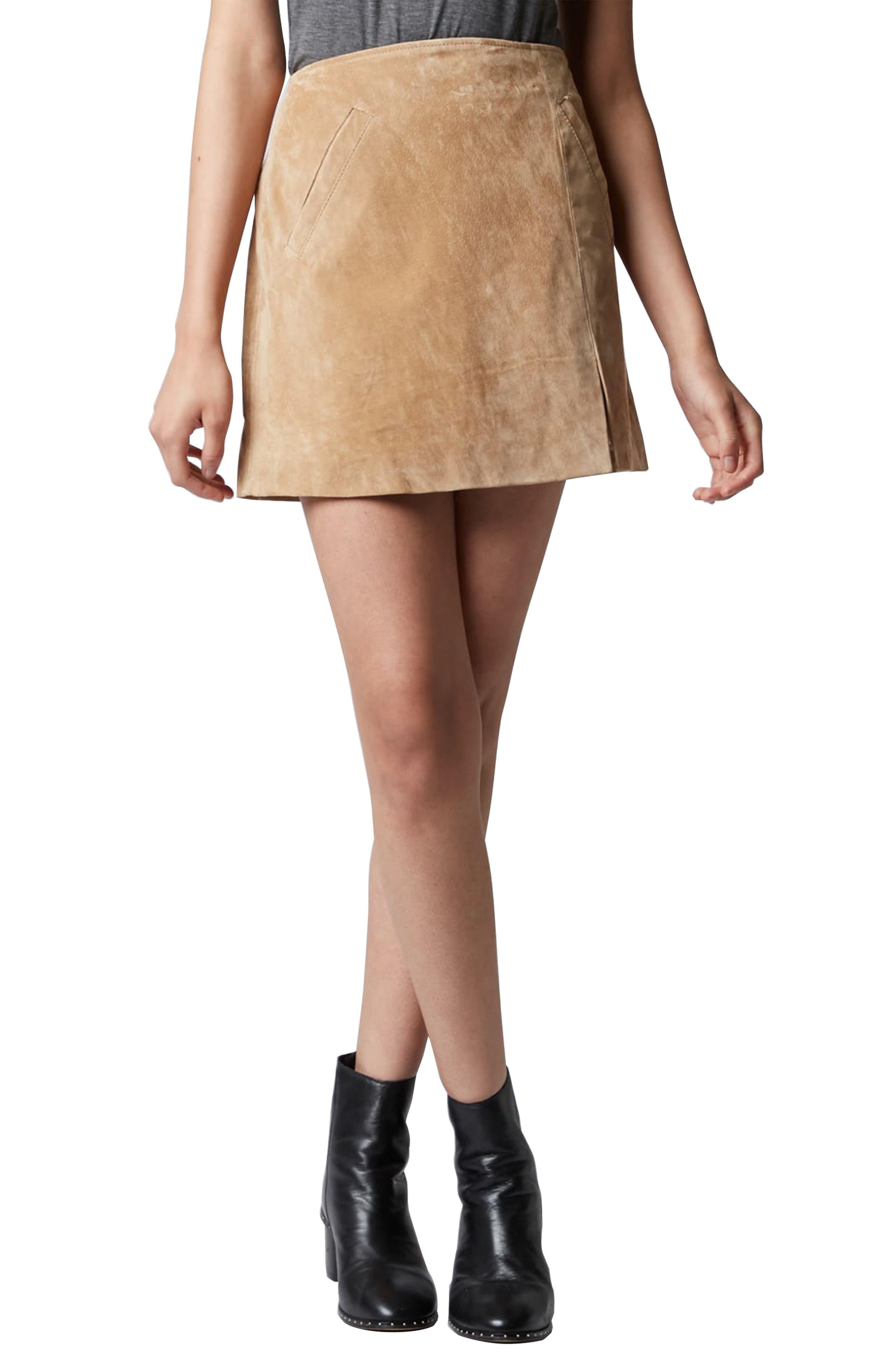 Suede Miniskirt,                             Alternate thumbnail 17, color,