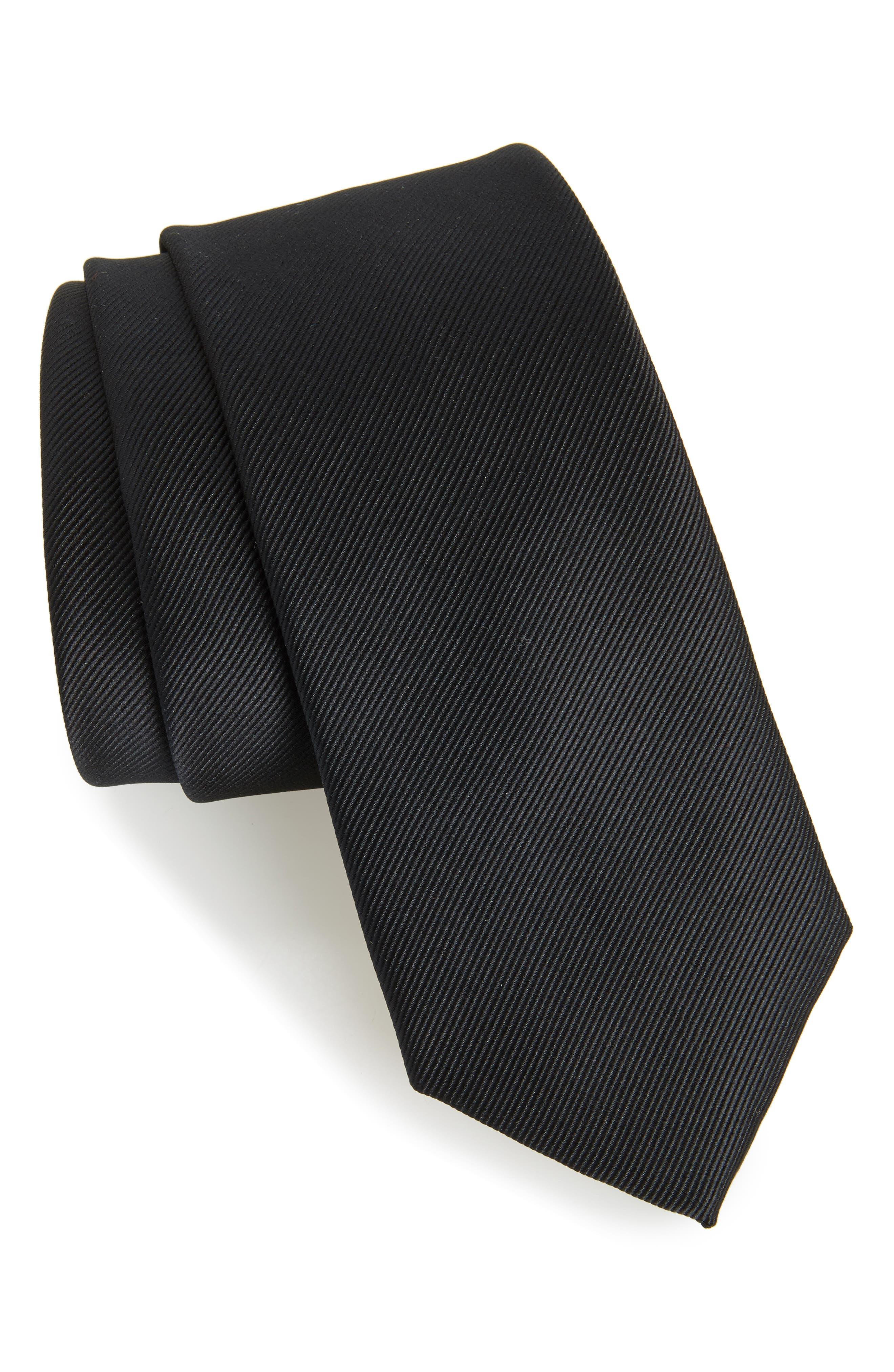 Black Woven Tie,                         Main,                         color, 001