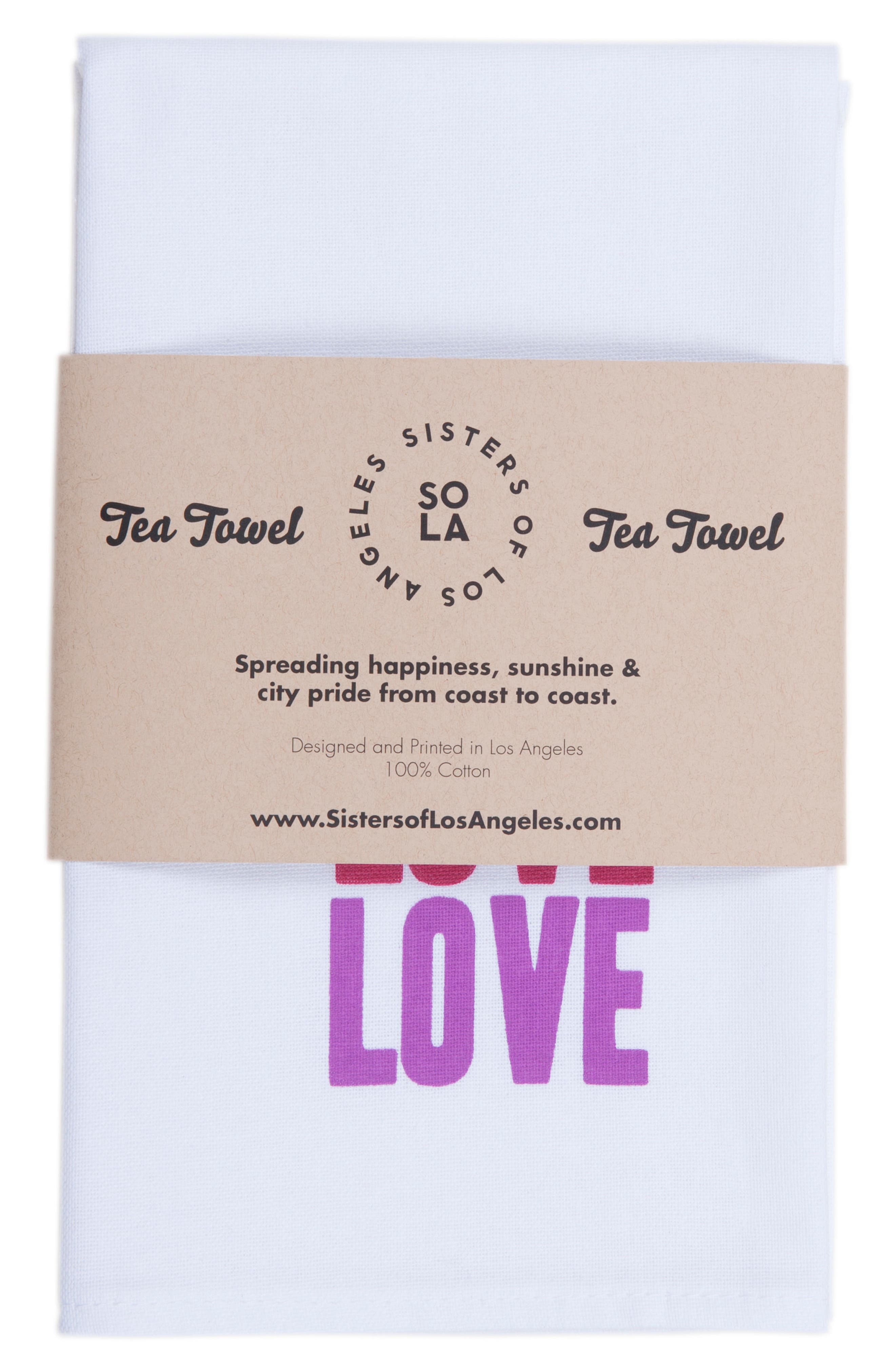 Peace Love Happiness Set of 3 Tea Towels,                             Alternate thumbnail 2, color,                             100
