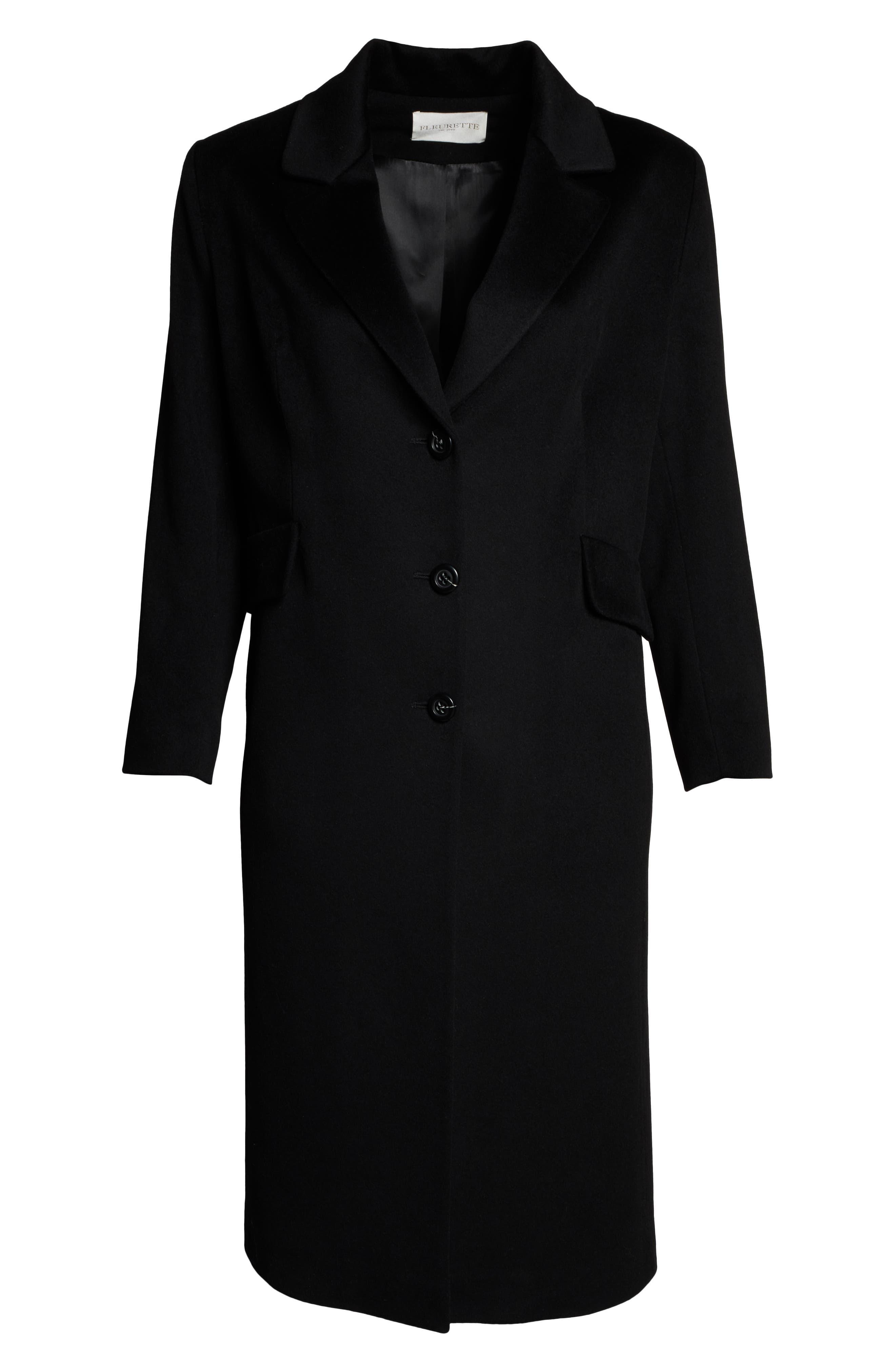 FLEURETTE,                             Maxi Reefer Wool Coat,                             Alternate thumbnail 6, color,                             BLACK