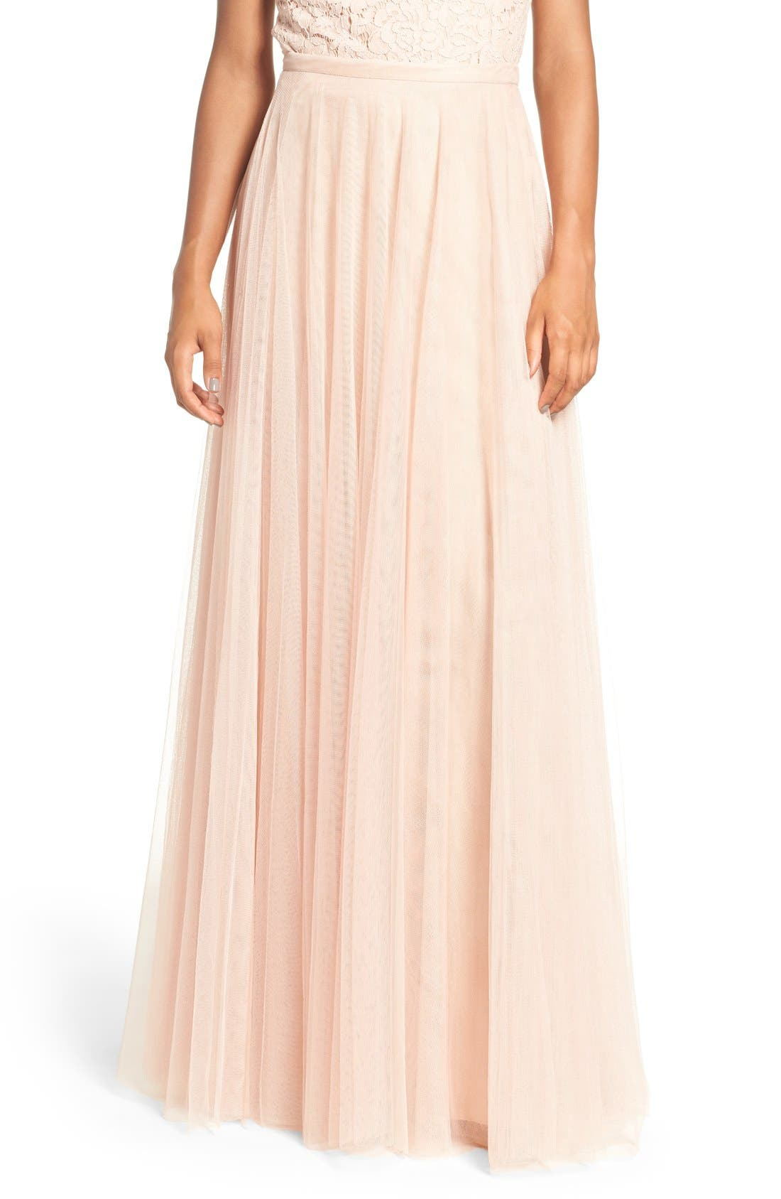 Winslow Long Tulle A-Line Skirt,                             Main thumbnail 1, color,                             CAMEO PINK