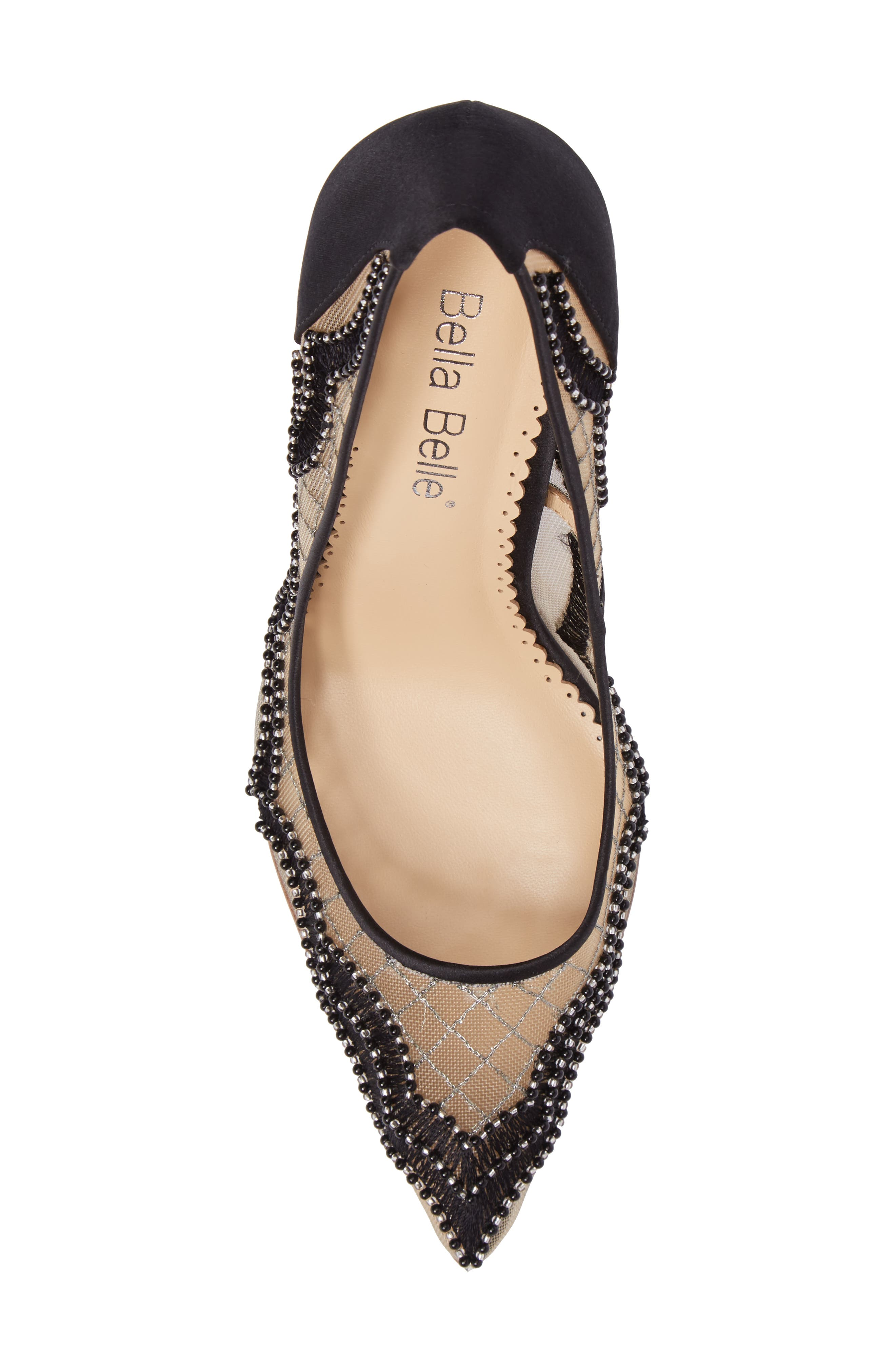 Nadia Scalloped Embroidery Pump,                             Alternate thumbnail 5, color,                             BLACK