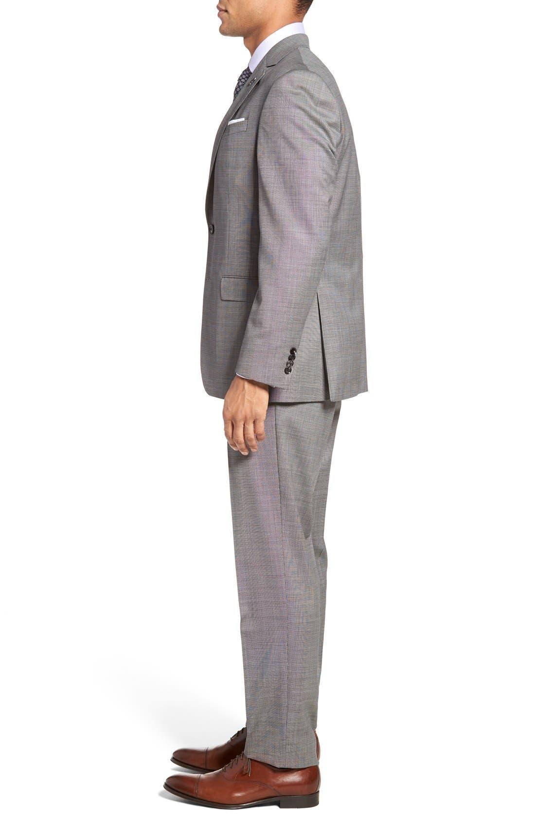 Jay Trim Fit Solid Wool Suit,                             Alternate thumbnail 8, color,                             LIGHT GREY