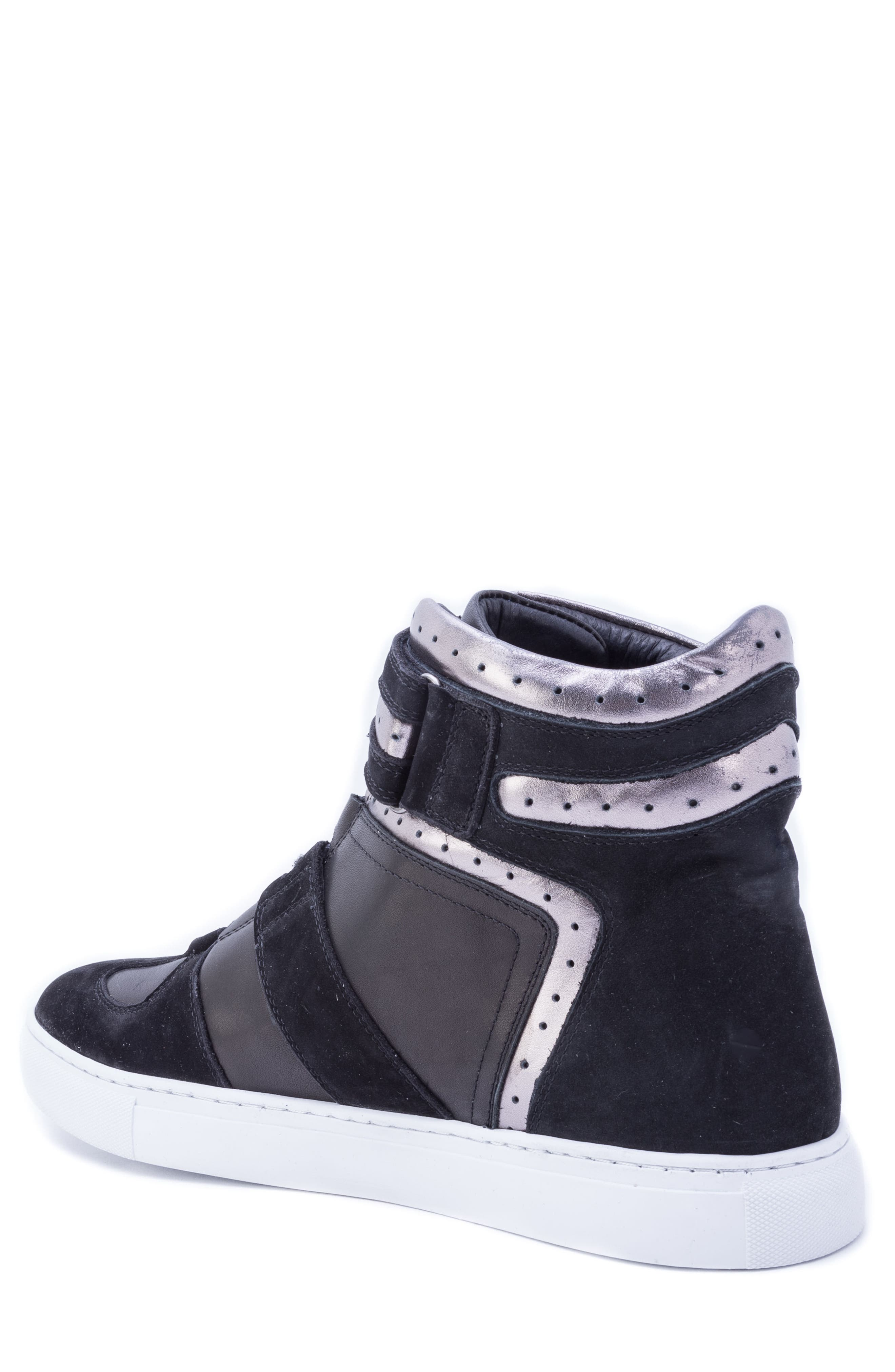 Belmondo High Top Sneaker,                             Alternate thumbnail 2, color,                             BLACK LEATHER/ SUEDE