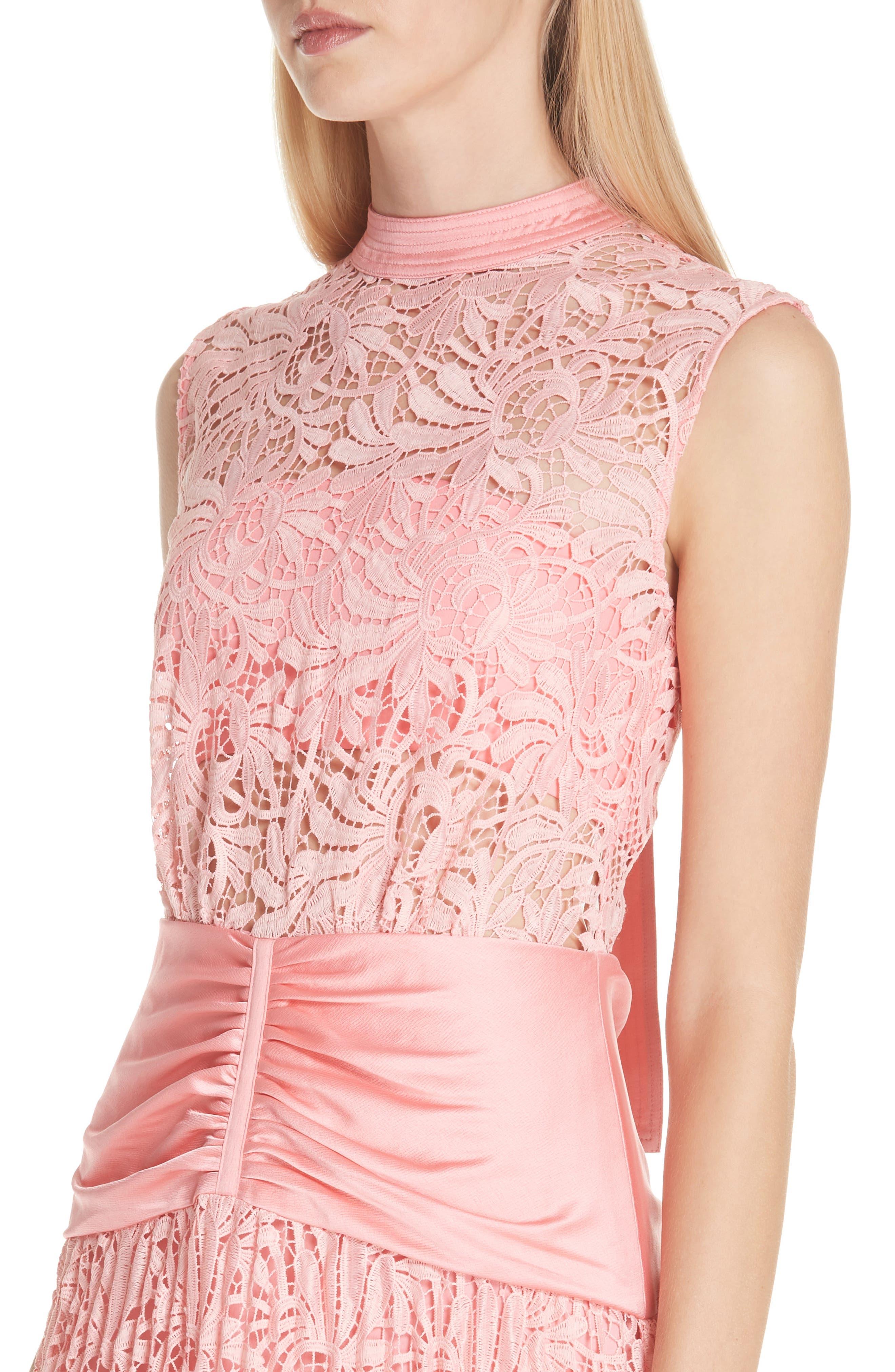 Floral Lace Sleeveless Midi Dress,                             Alternate thumbnail 4, color,                             650