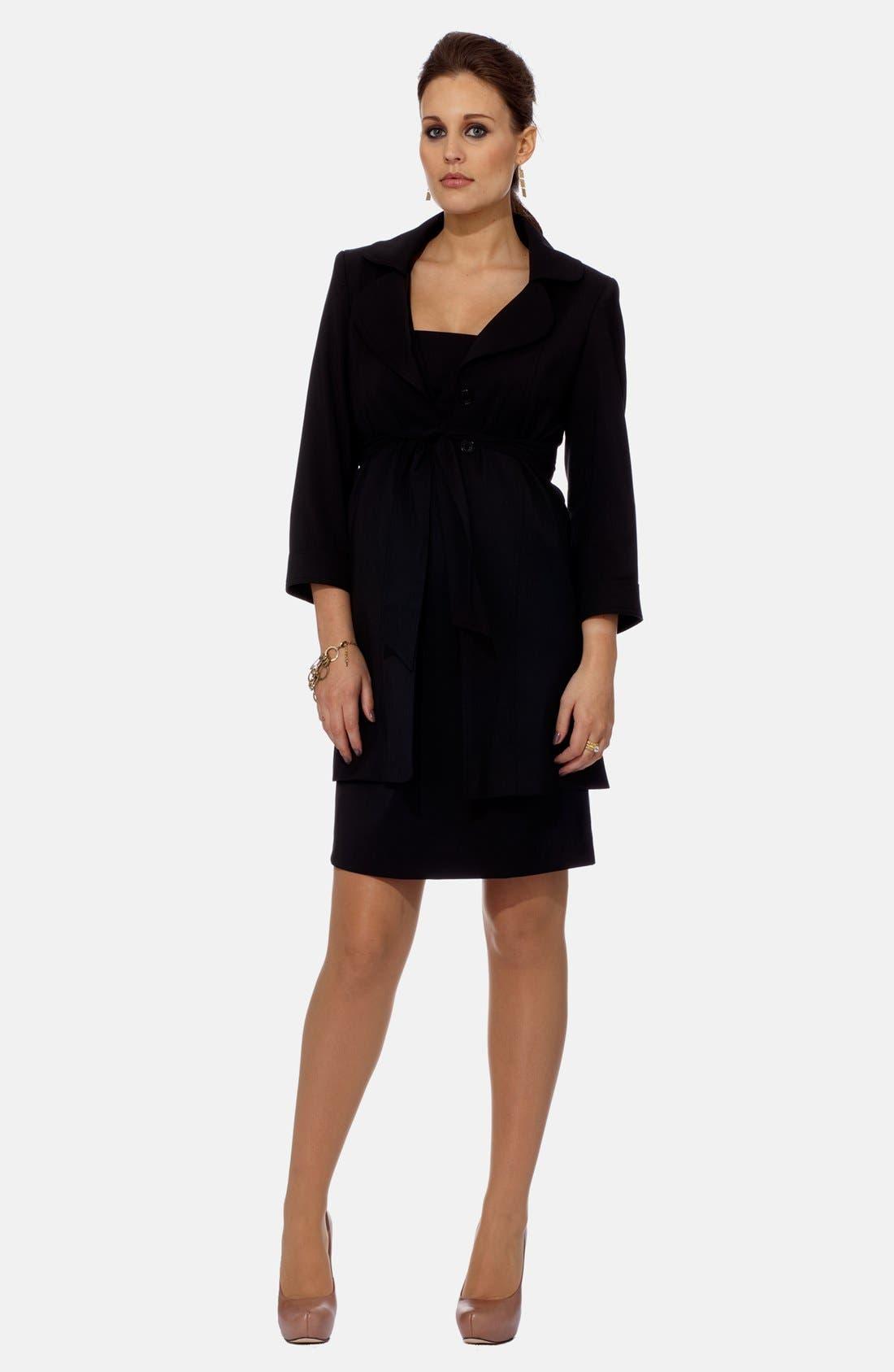 London Wrap Tie Virgin Wool Blend A-Line Maternity Jacket,                         Main,                         color, 001