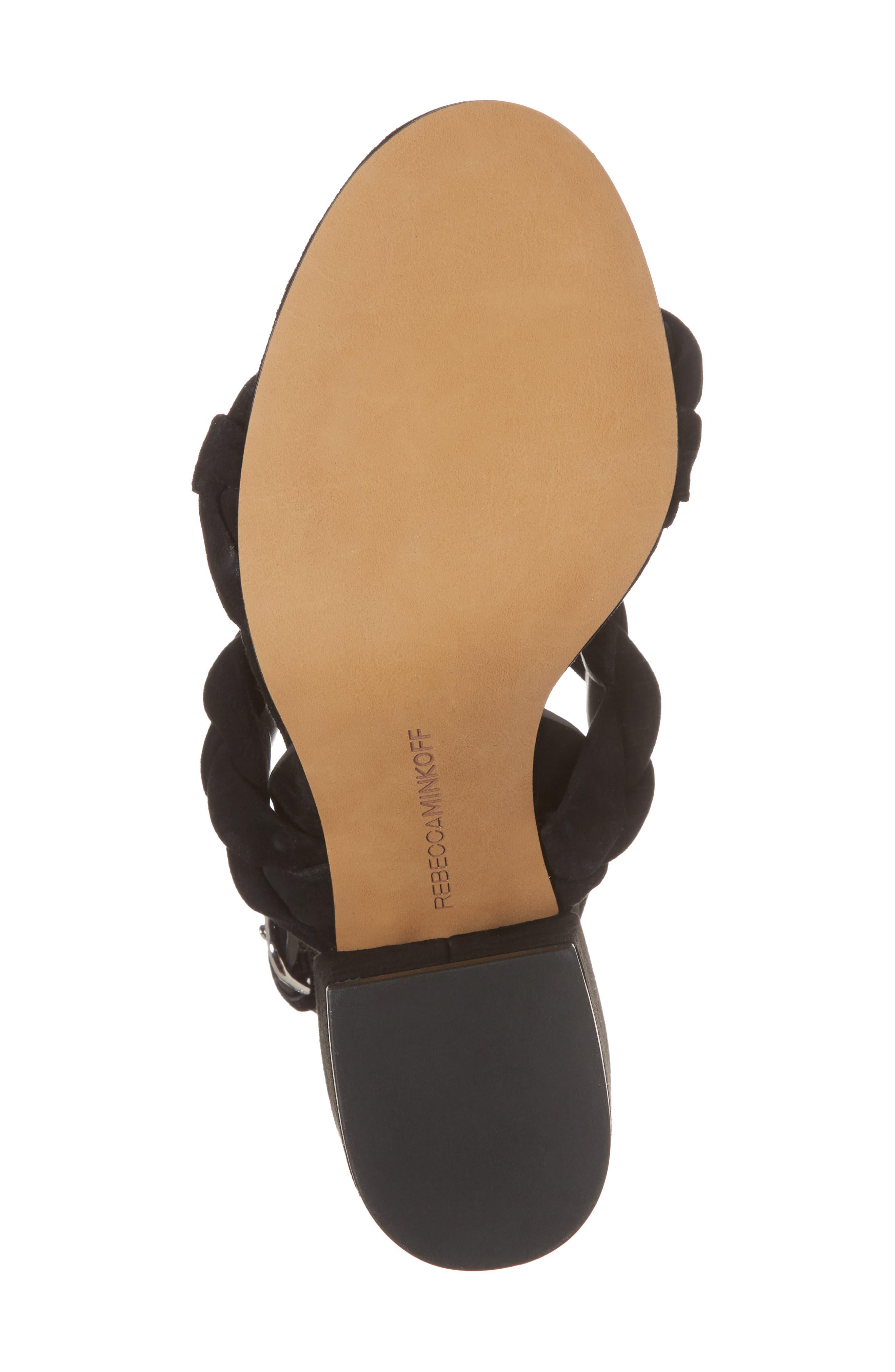 Candance Block Heel Sandal,                             Alternate thumbnail 6, color,                             BLACK LEATHER