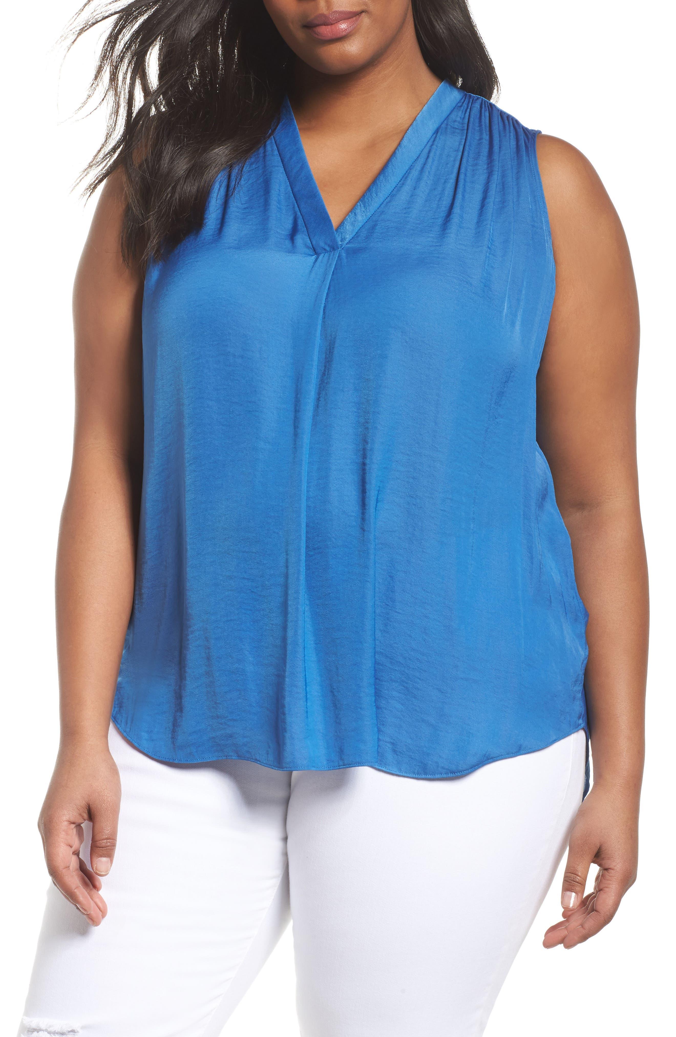 V-Neck Rumple Blouse,                         Main,                         color, BLUE AURA