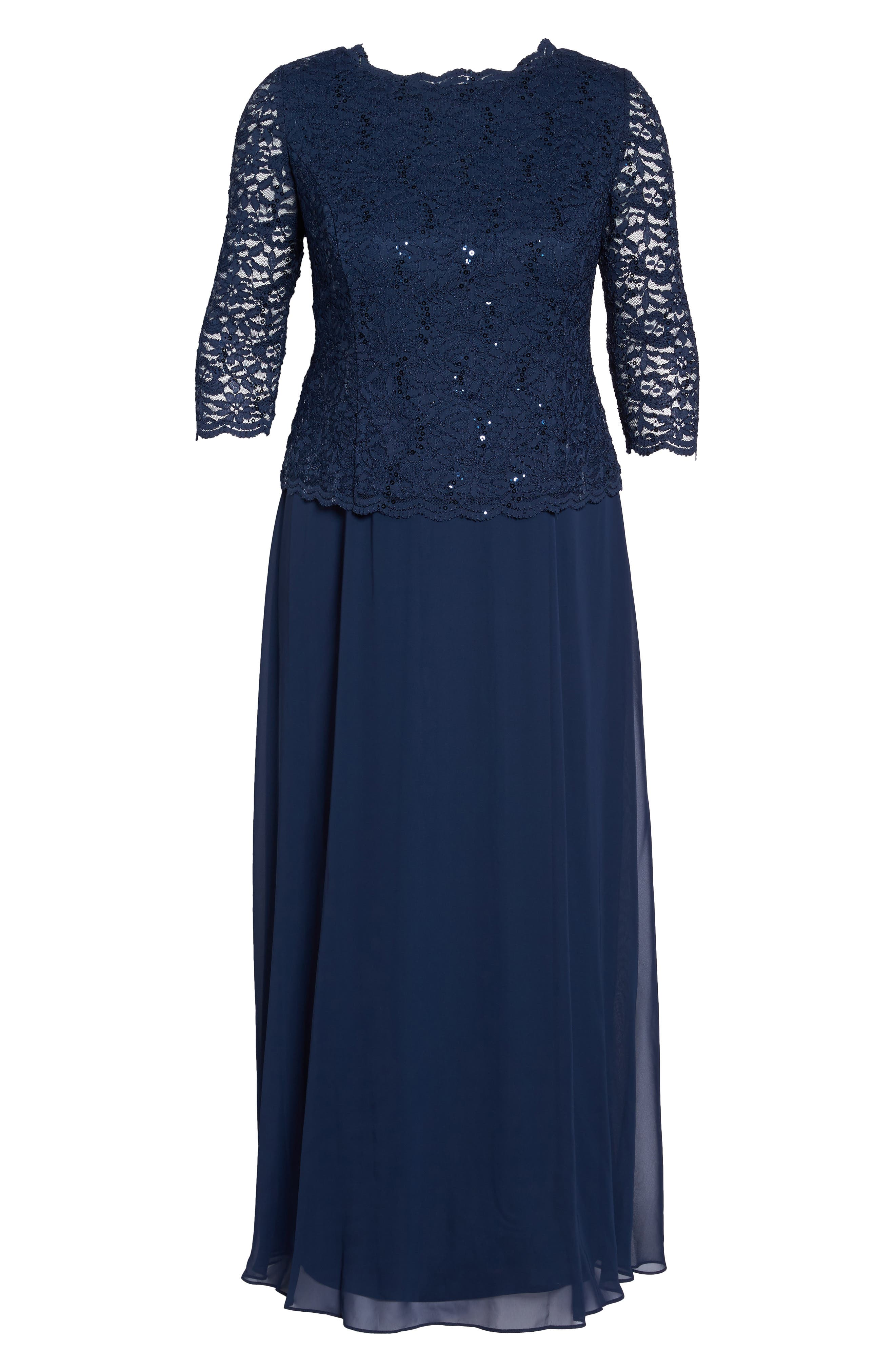 Embellished Lace & Chiffon Gown,                             Alternate thumbnail 7, color,                             NAVY