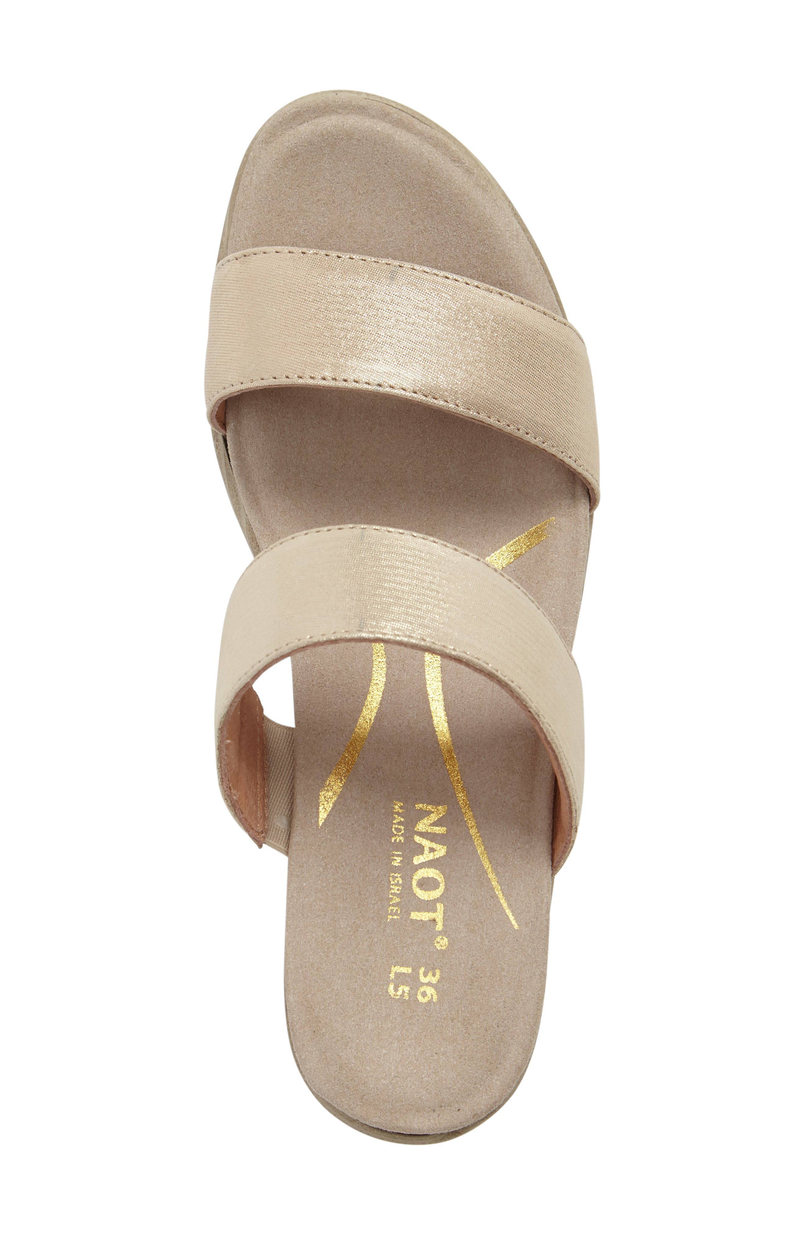 Fate Platform Sandal,                             Alternate thumbnail 5, color,                             GOLD THREADS LEATHER