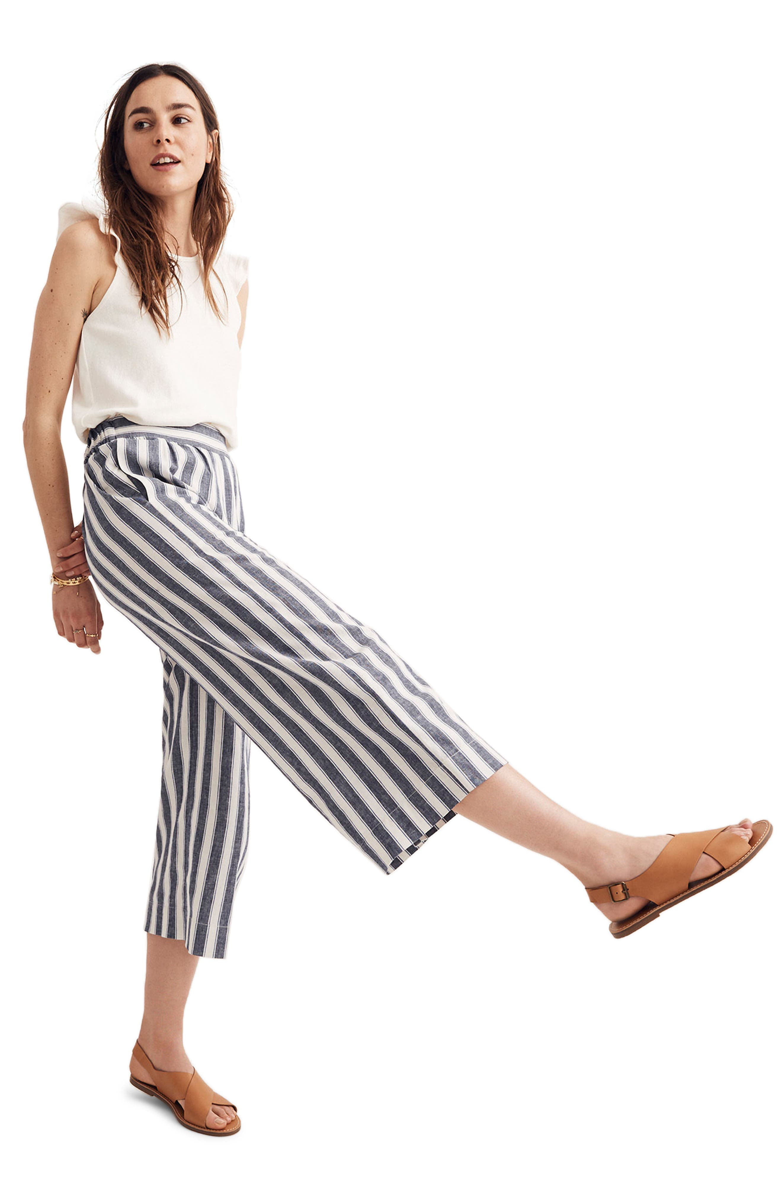 Huston Stripe Crop Pants,                             Alternate thumbnail 4, color,                             400