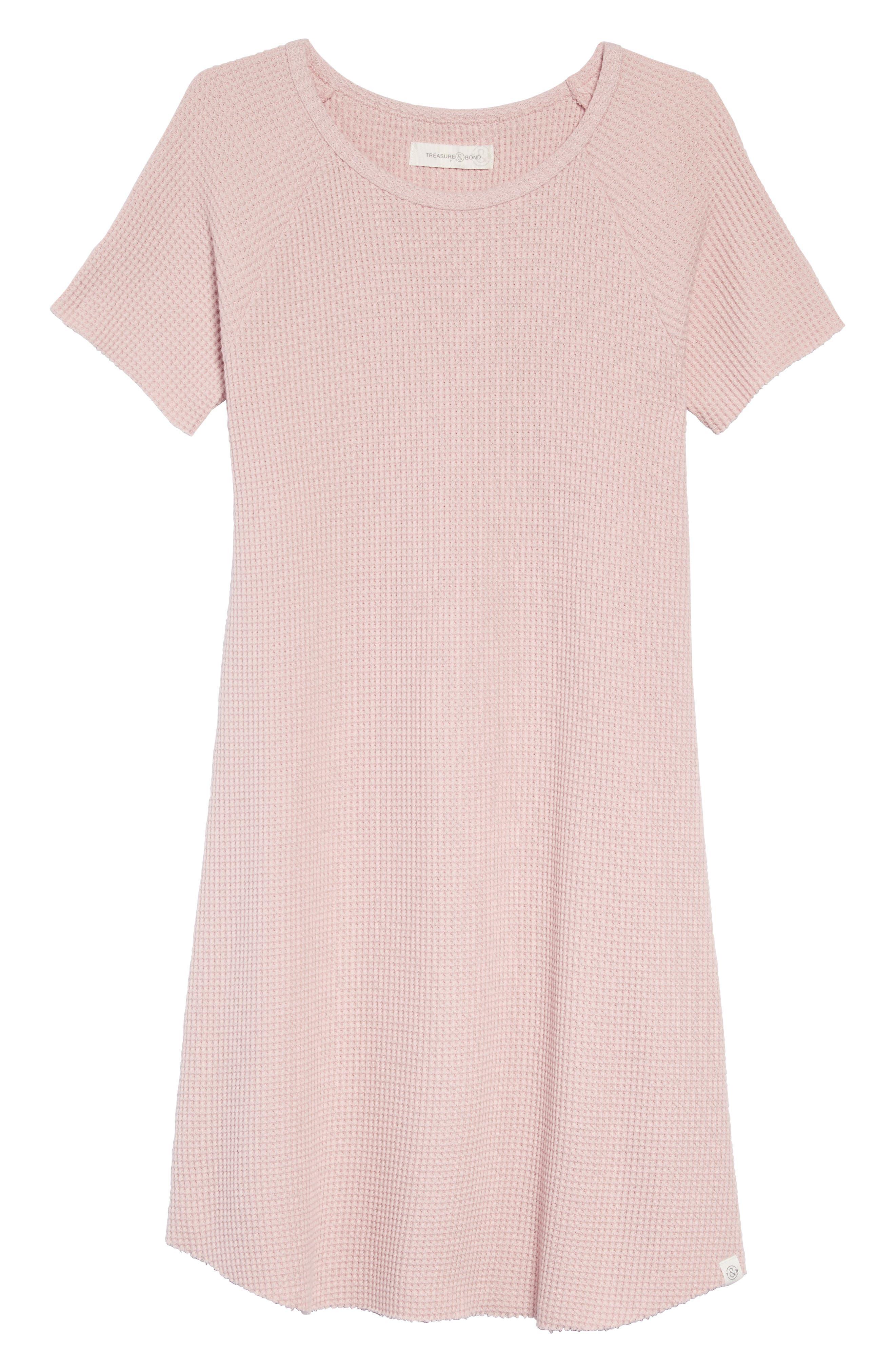 Waffle Knit T-Shirt Dress,                         Main,                         color, 680
