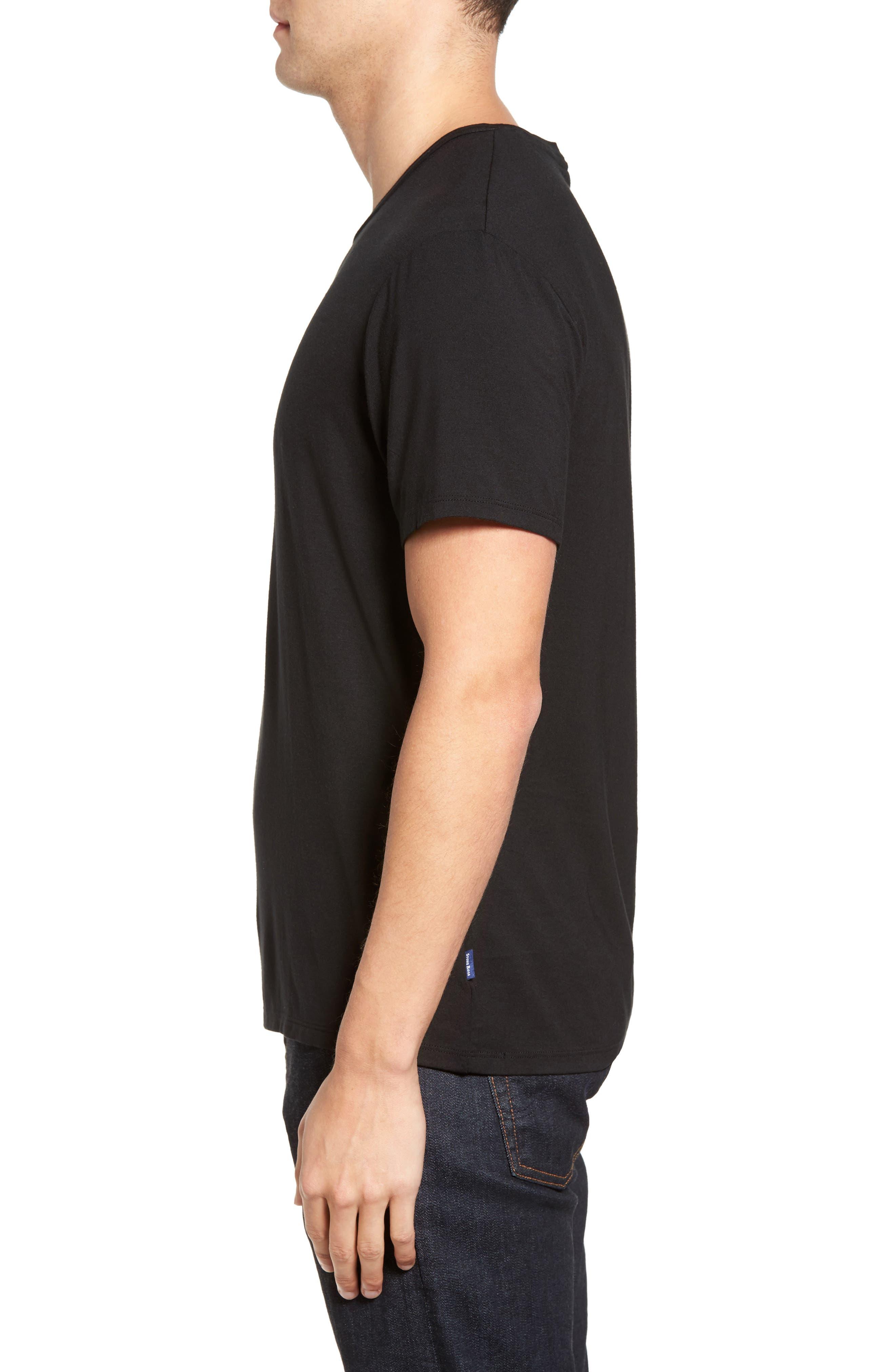 Stretch Modal T-Shirt,                             Alternate thumbnail 3, color,                             001