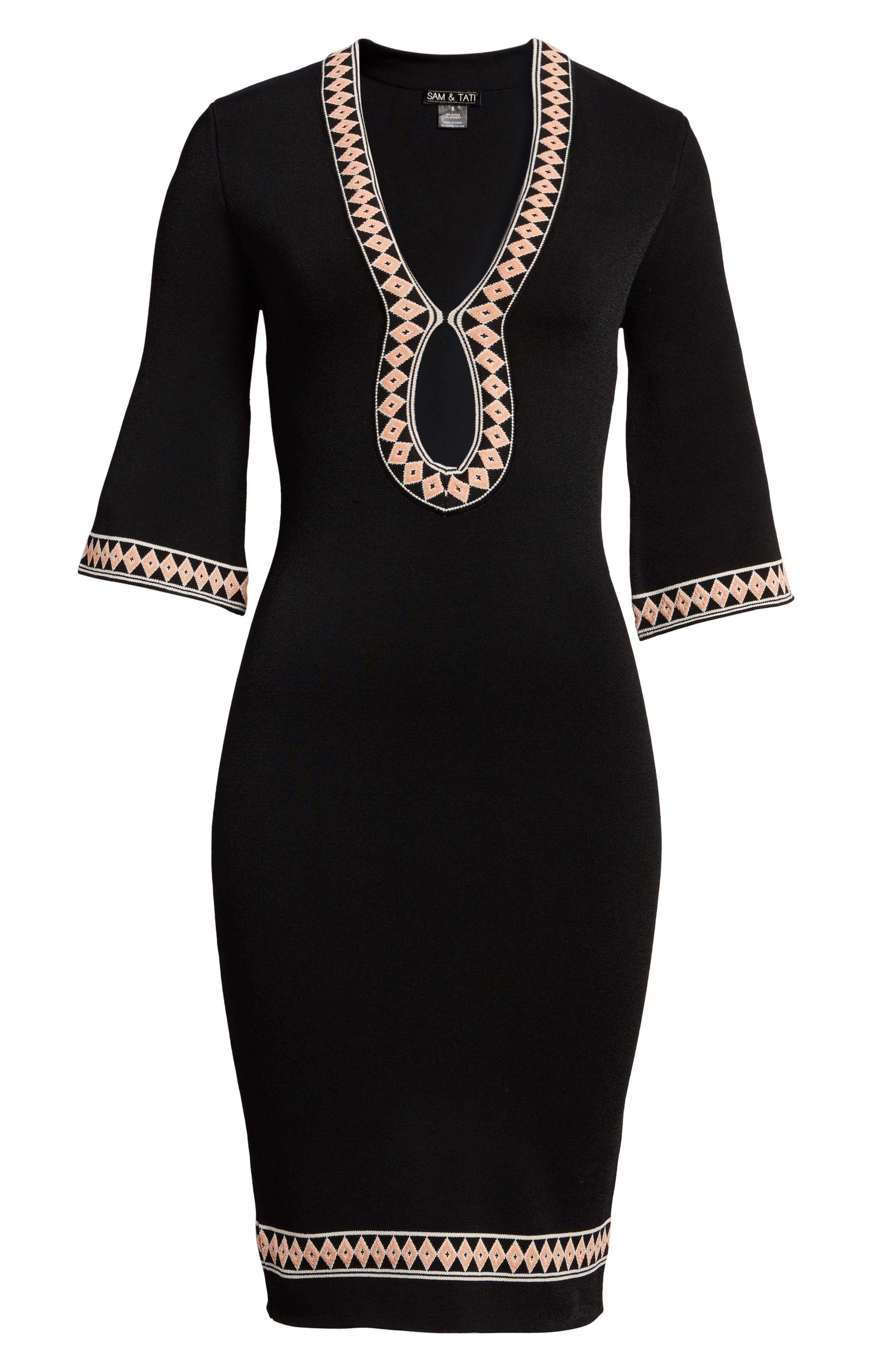 Body-Con Knit Dress,                             Alternate thumbnail 6, color,                             BLACK