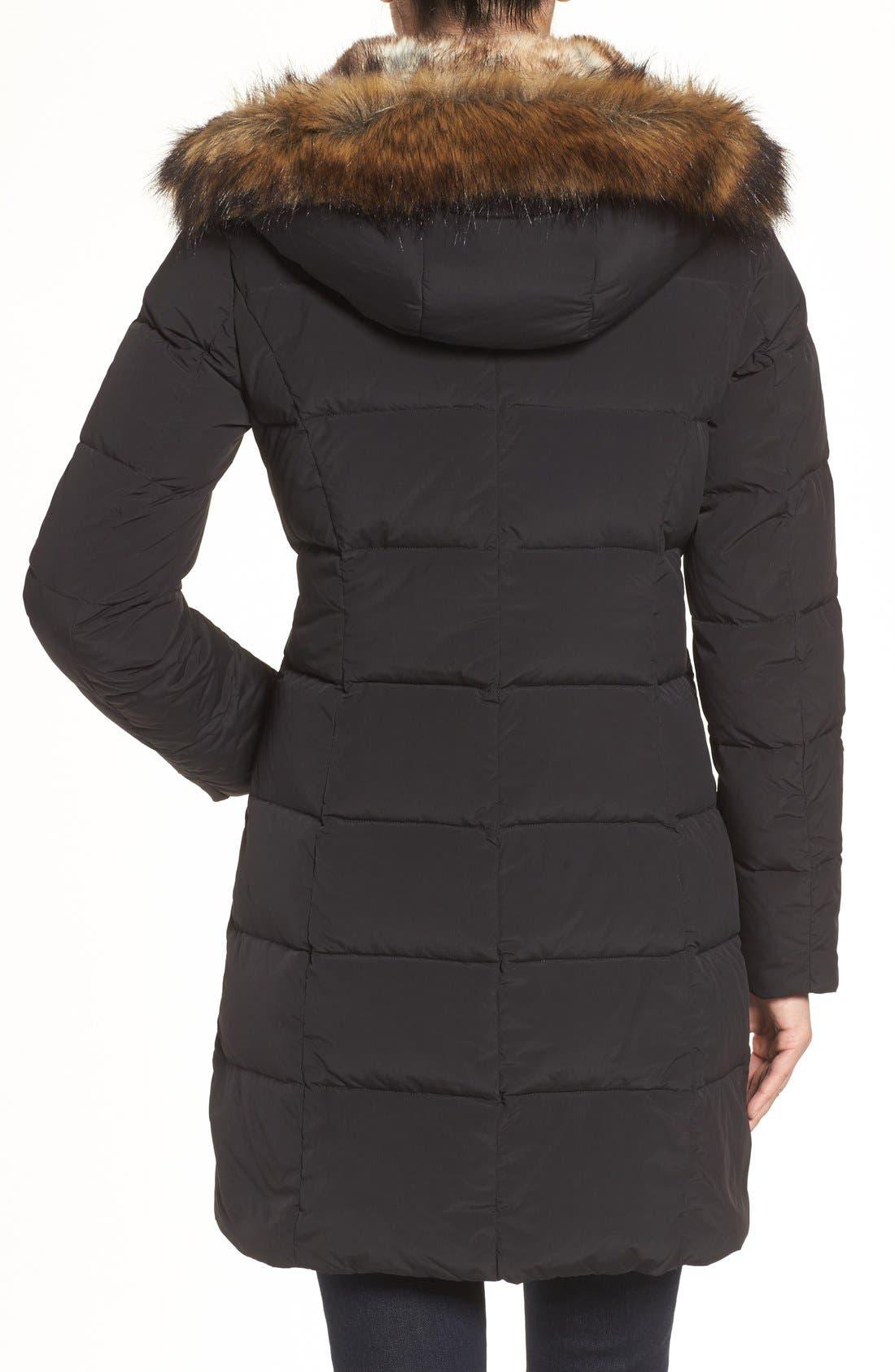 Asymmetrical Down Coat with Faux Fur Trim,                             Alternate thumbnail 2, color,                             001