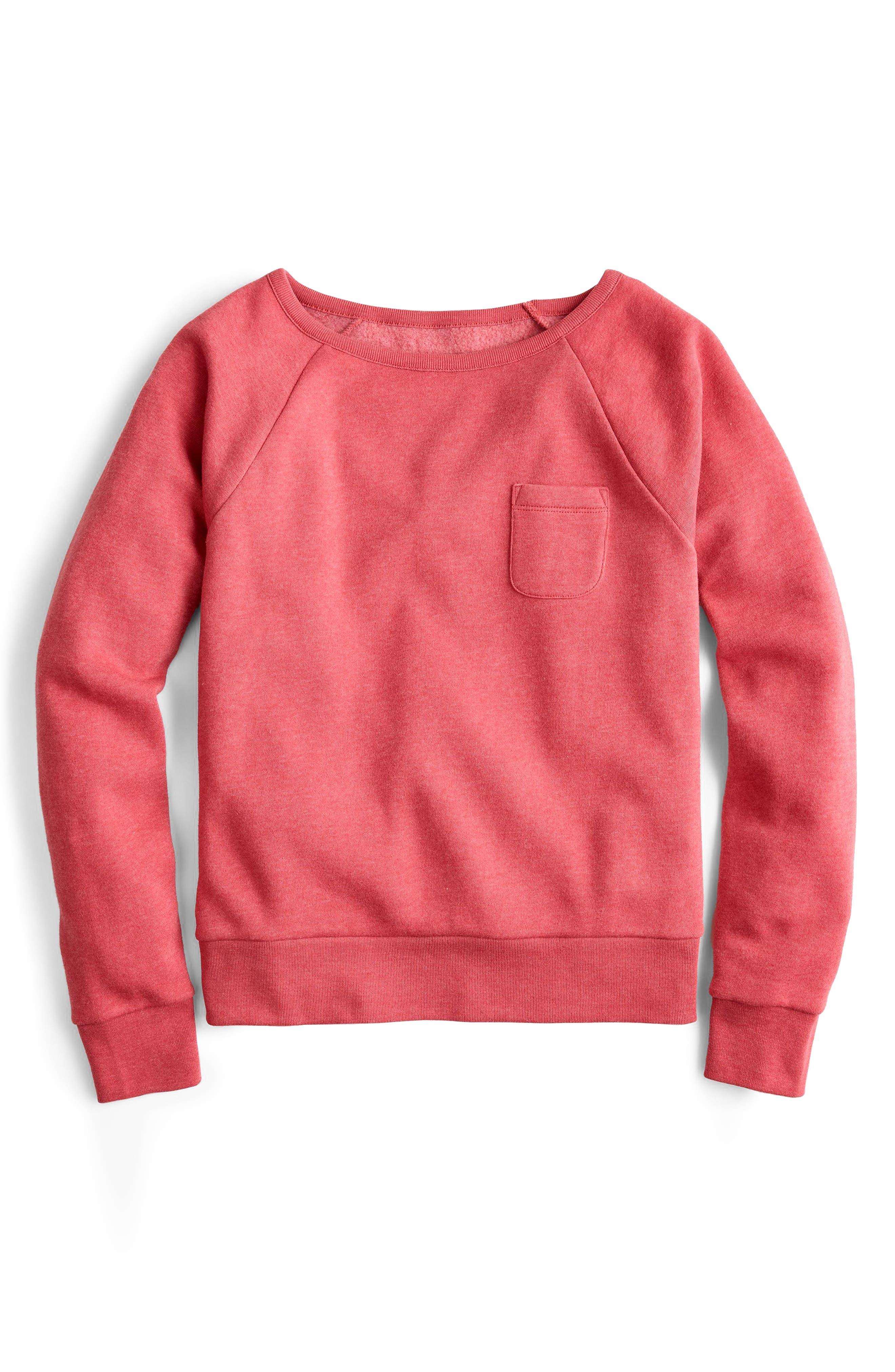 Pocket Sweatshirt,                         Main,                         color, OLD RED