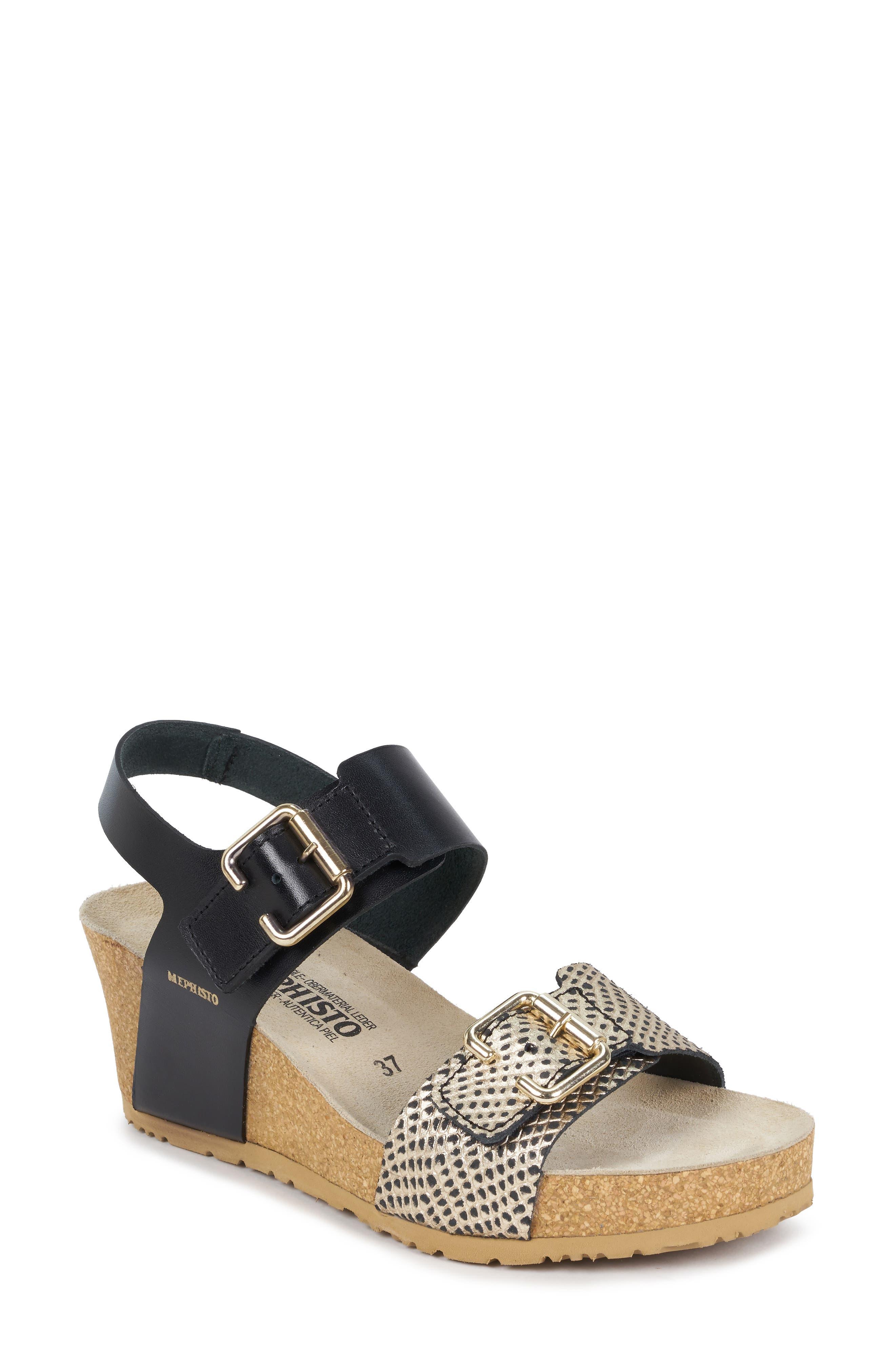 Lissandra Platform Wedge Sandal,                         Main,                         color, BLACK/ GOLD LEATHER