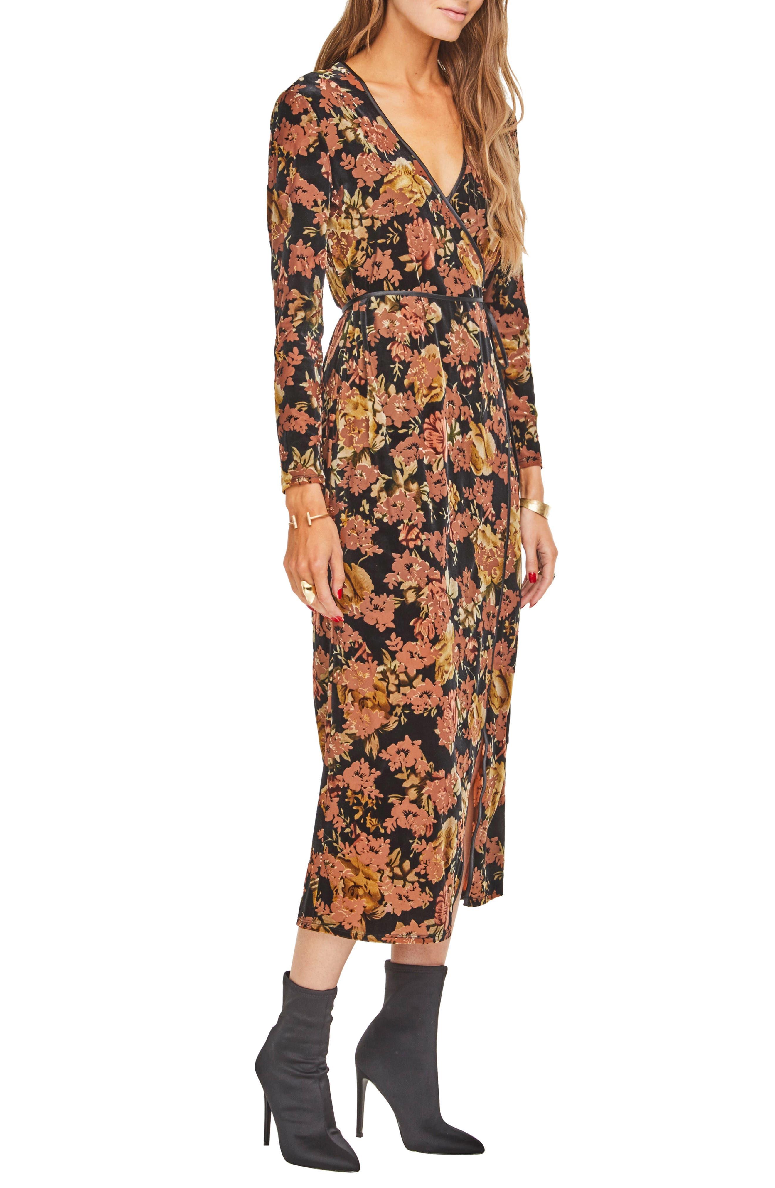 Milena Midi Dress,                             Alternate thumbnail 3, color,                             BLACK RUST FLORAL