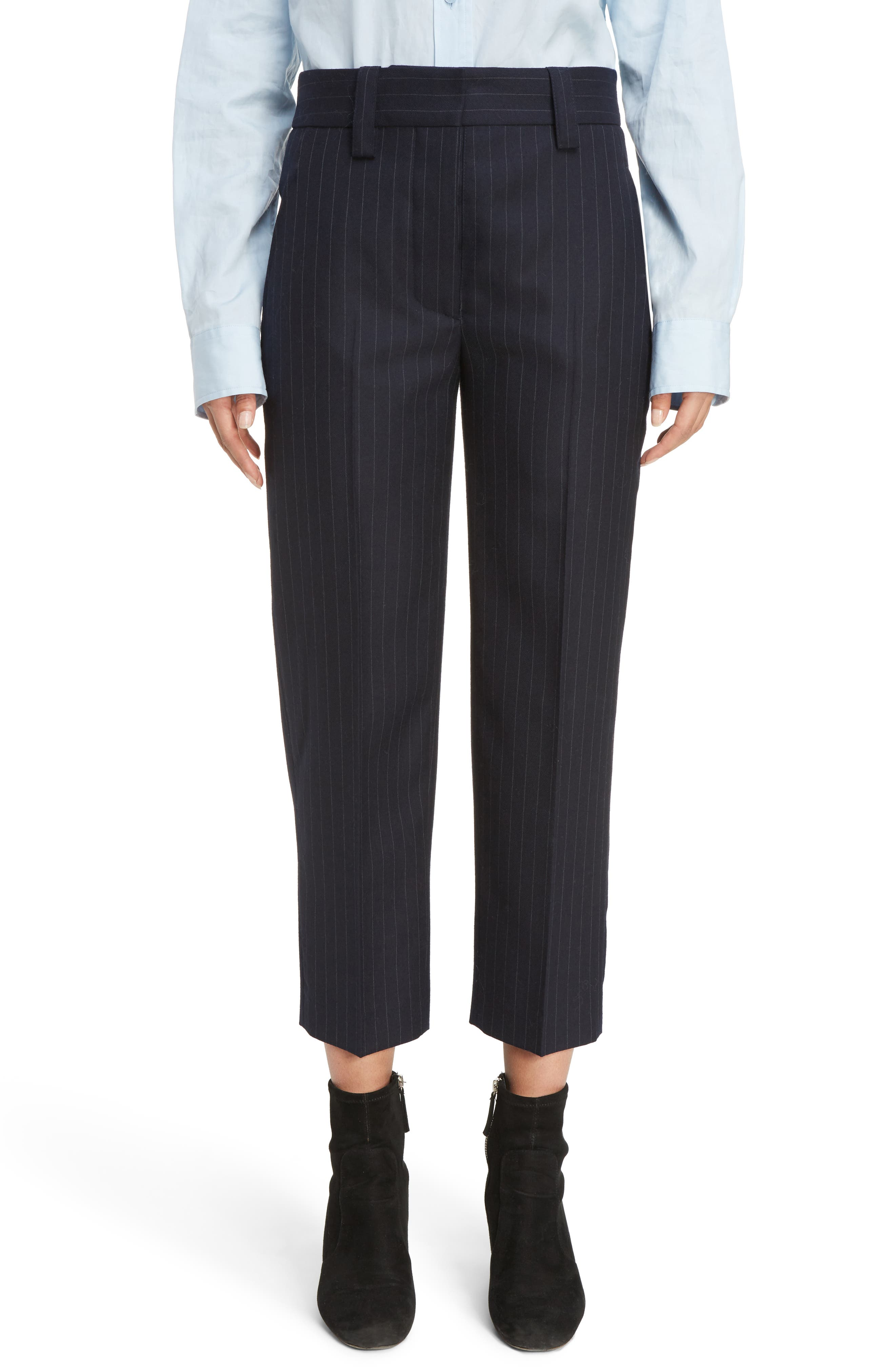 Trea Pinstripe Straight Leg Wool Pants,                             Main thumbnail 1, color,                             410