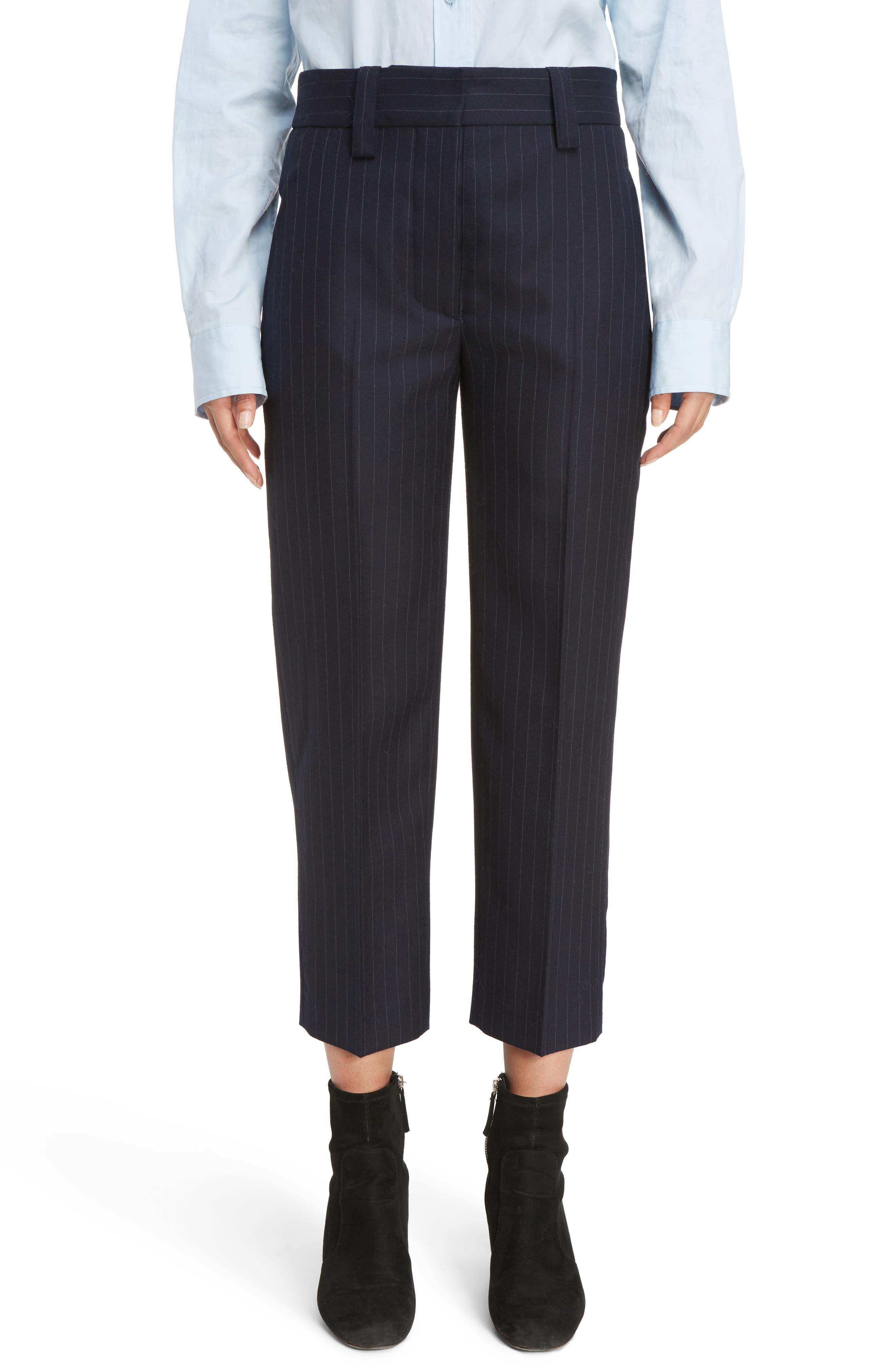 Trea Pinstripe Straight Leg Wool Pants,                         Main,                         color, 410
