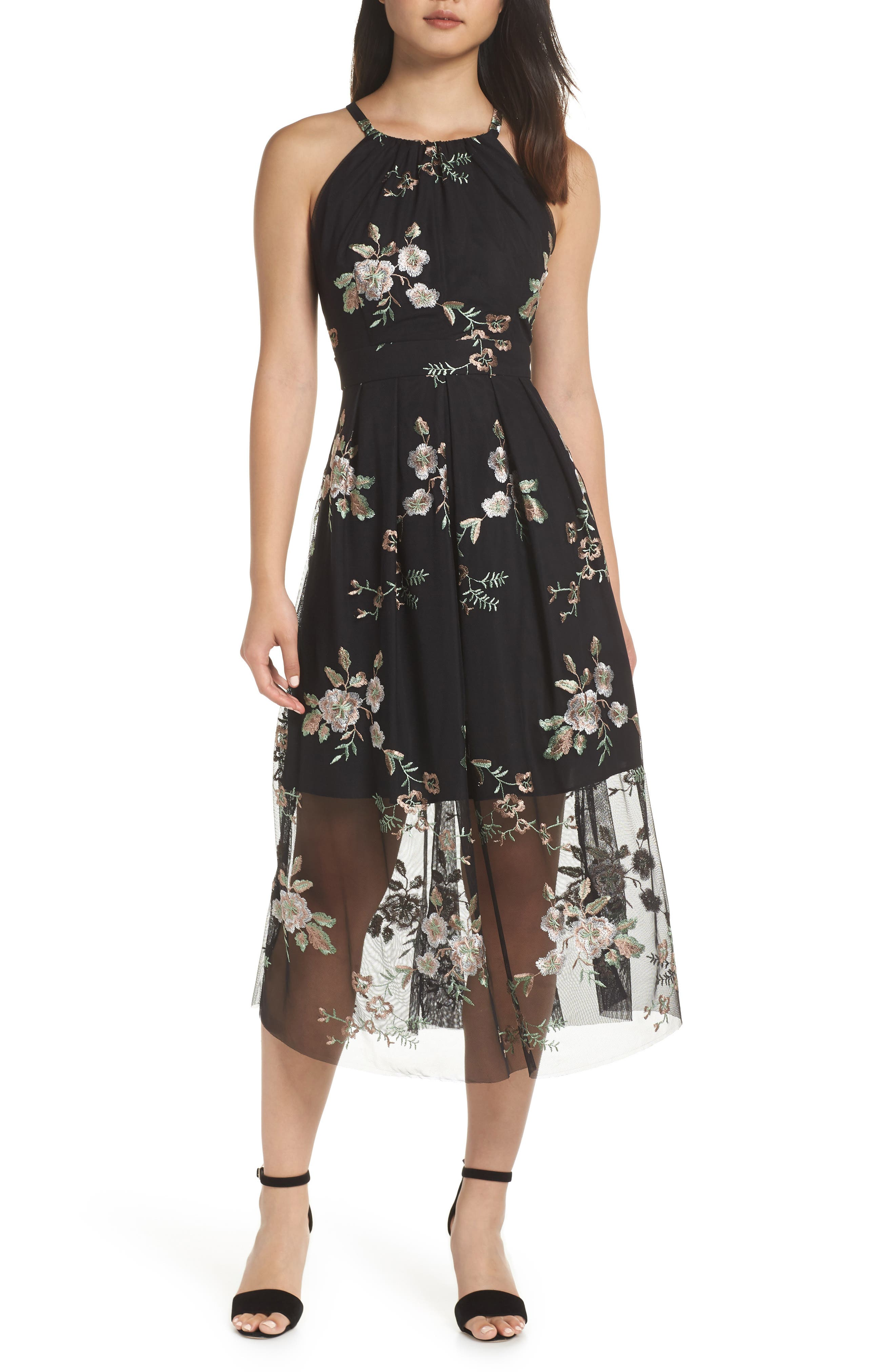 Vince Camuto Embroidered Mesh Midi Dress, Black