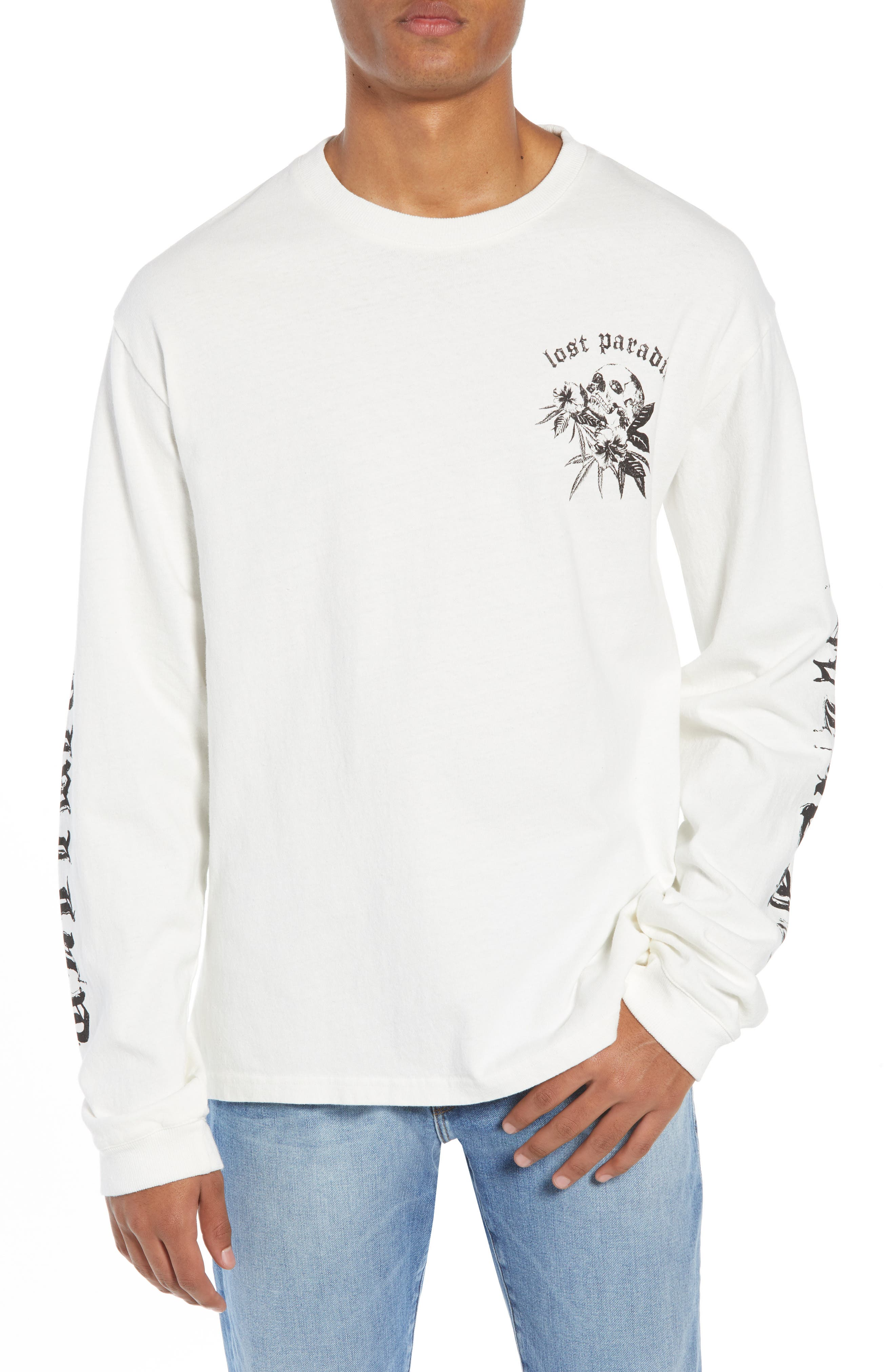 THE KOOPLES Lost Paradise Graphic Long Sleeve Tee in Off White
