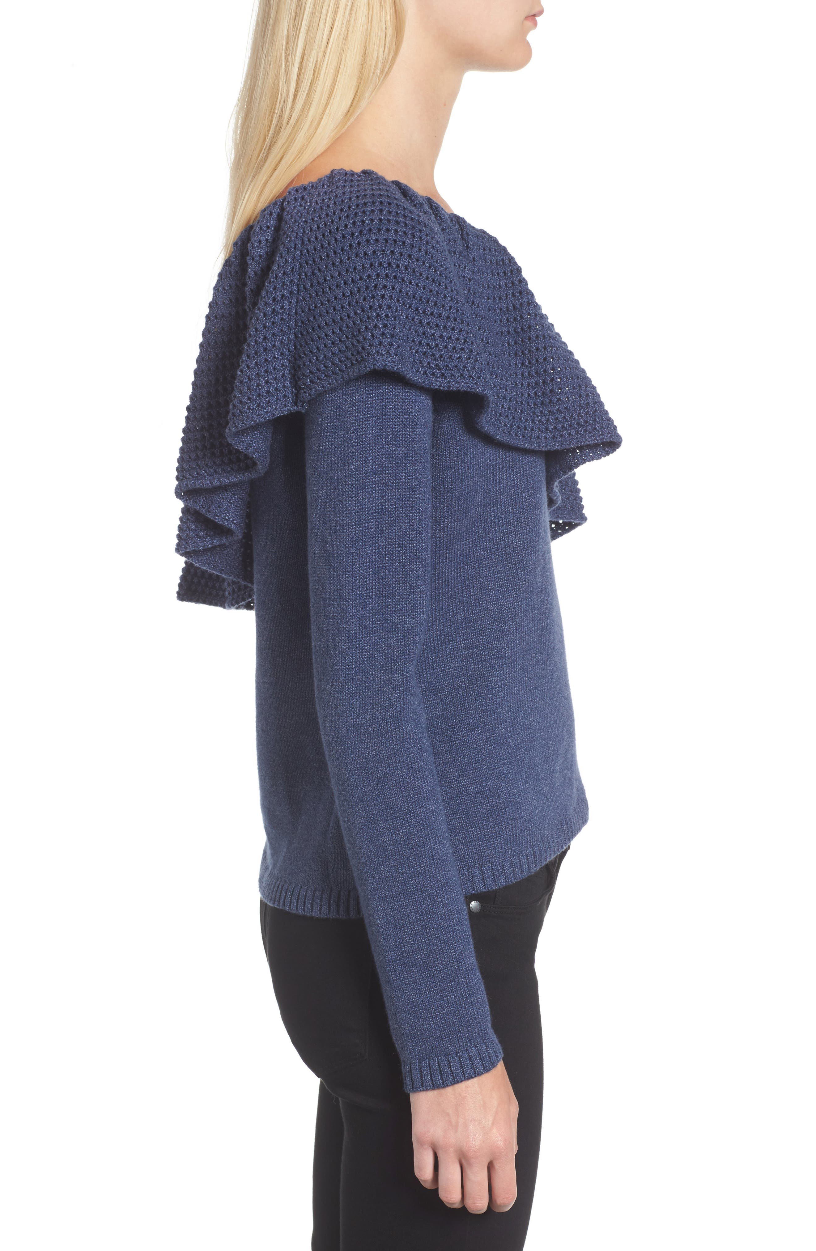 Ruffle One Shoulder Sweater,                             Alternate thumbnail 3, color,                             439
