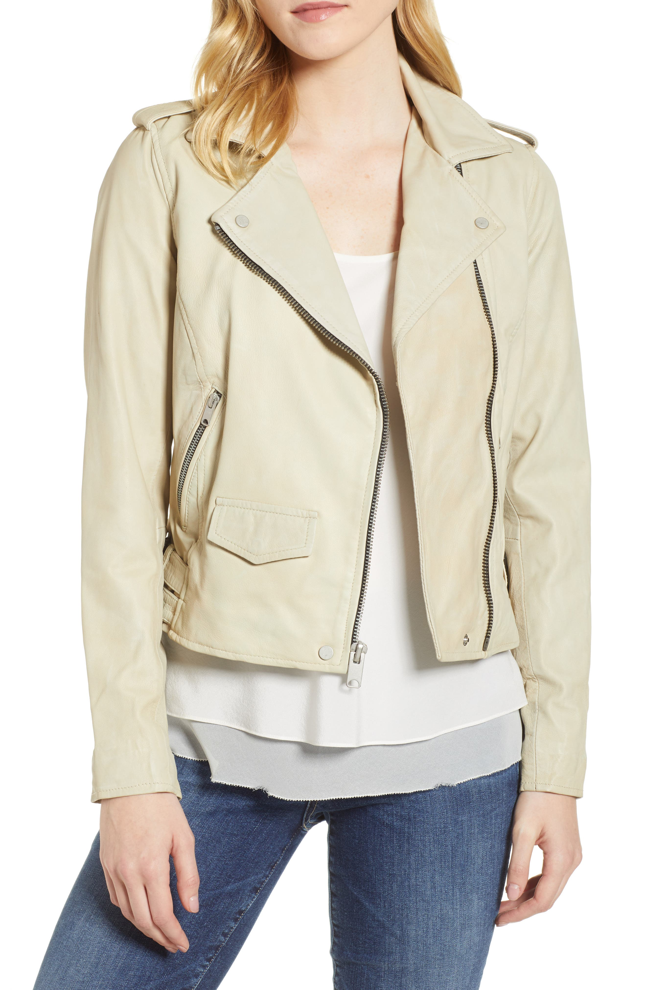 Whitney Washed Leather Crop Jacket,                             Main thumbnail 1, color,                             277