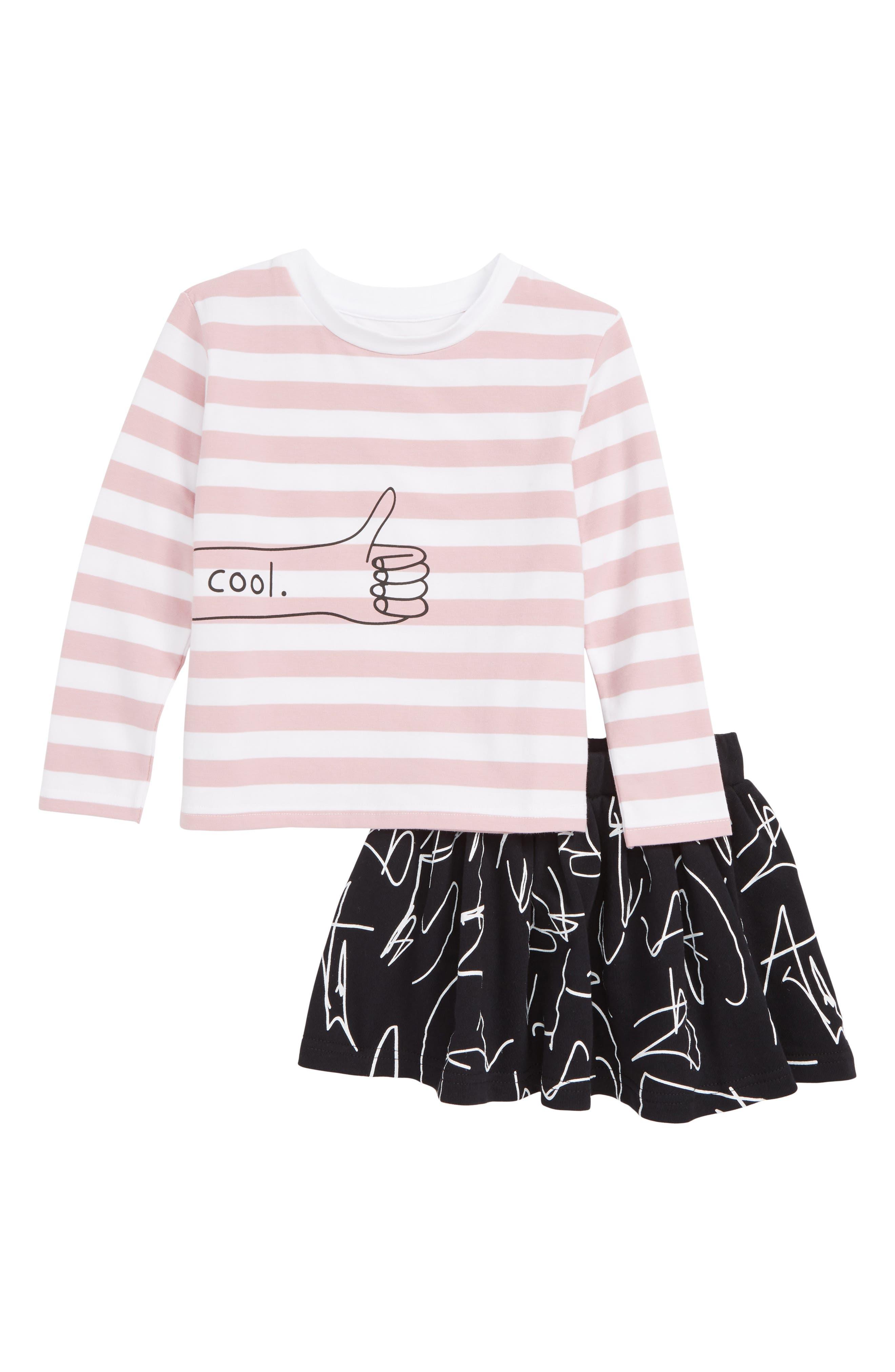 Toddler Girls Tiny Tribe Cool Graphic Tee  Skirt Set