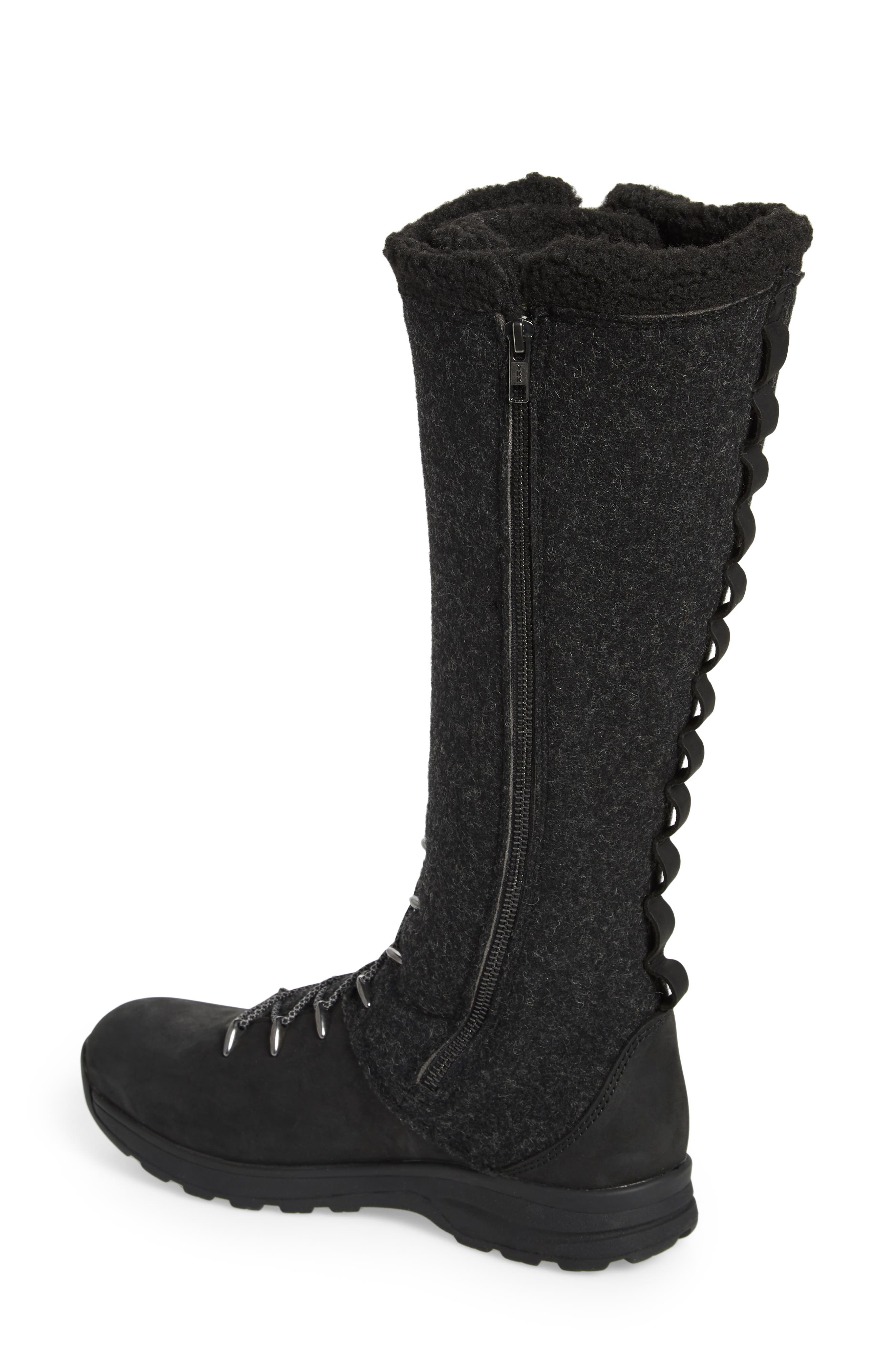 Crazy Rockies III Lace-Up Knee High Boot,                             Alternate thumbnail 2, color,                             BLACK WOOL