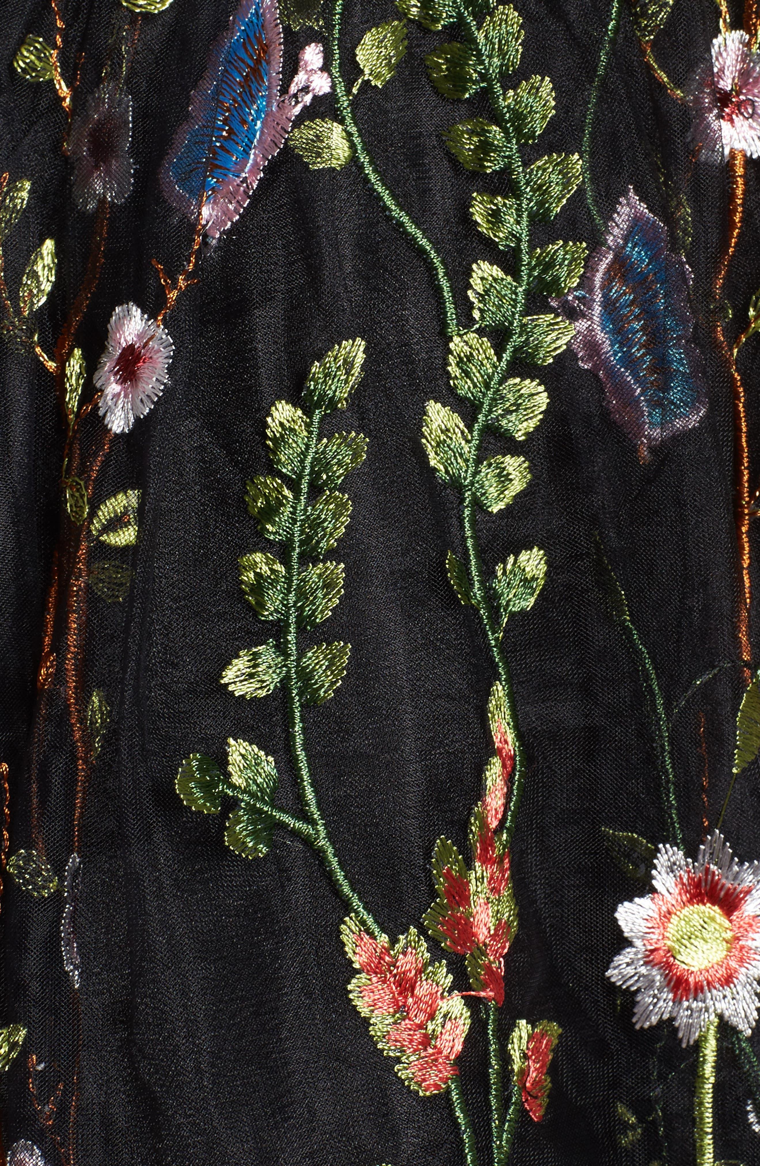 Embroidered Skater Dress,                             Alternate thumbnail 5, color,                             BLACK/MULTI