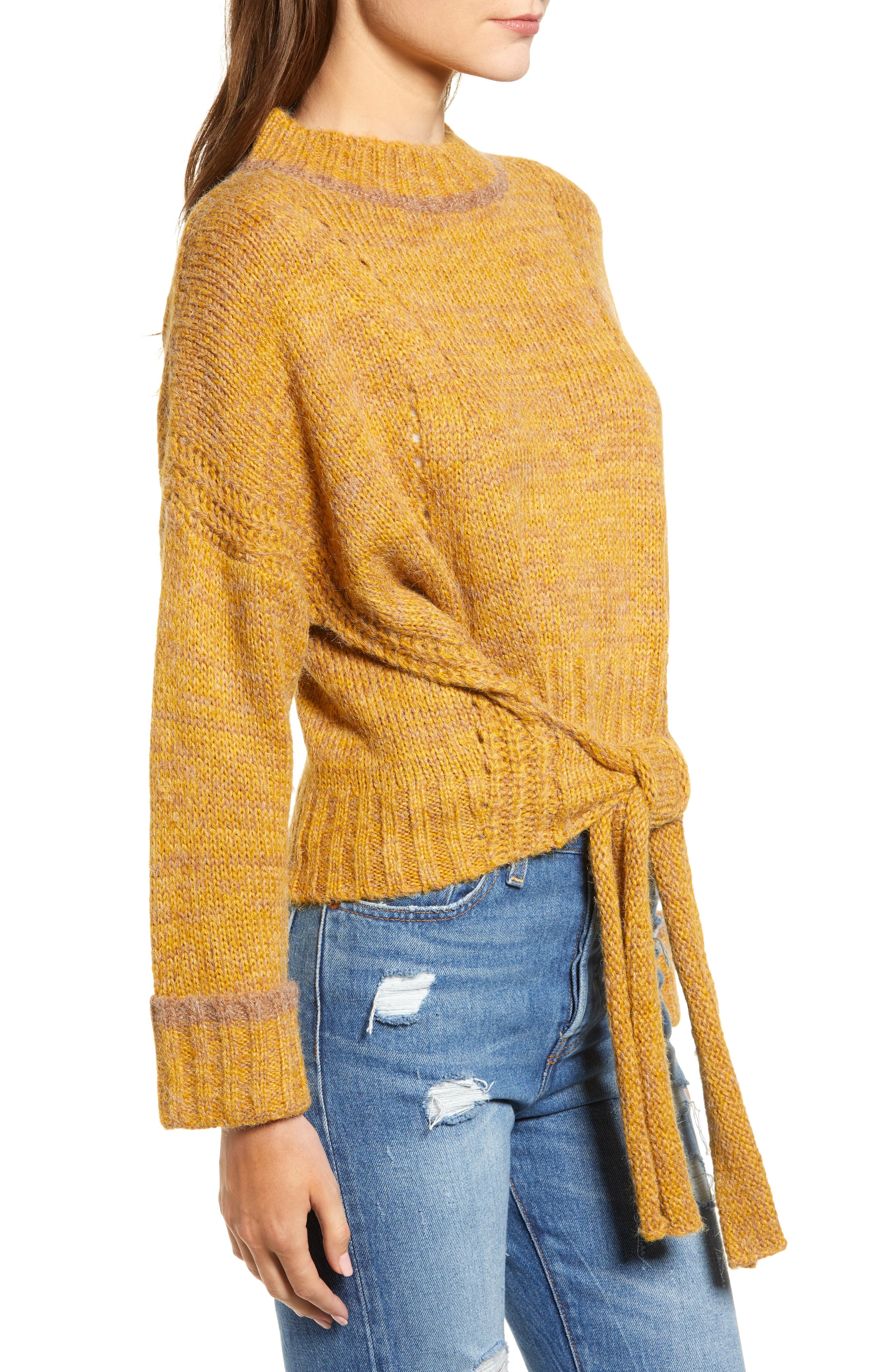Tie Hem Crop Sweater,                             Alternate thumbnail 3, color,                             700