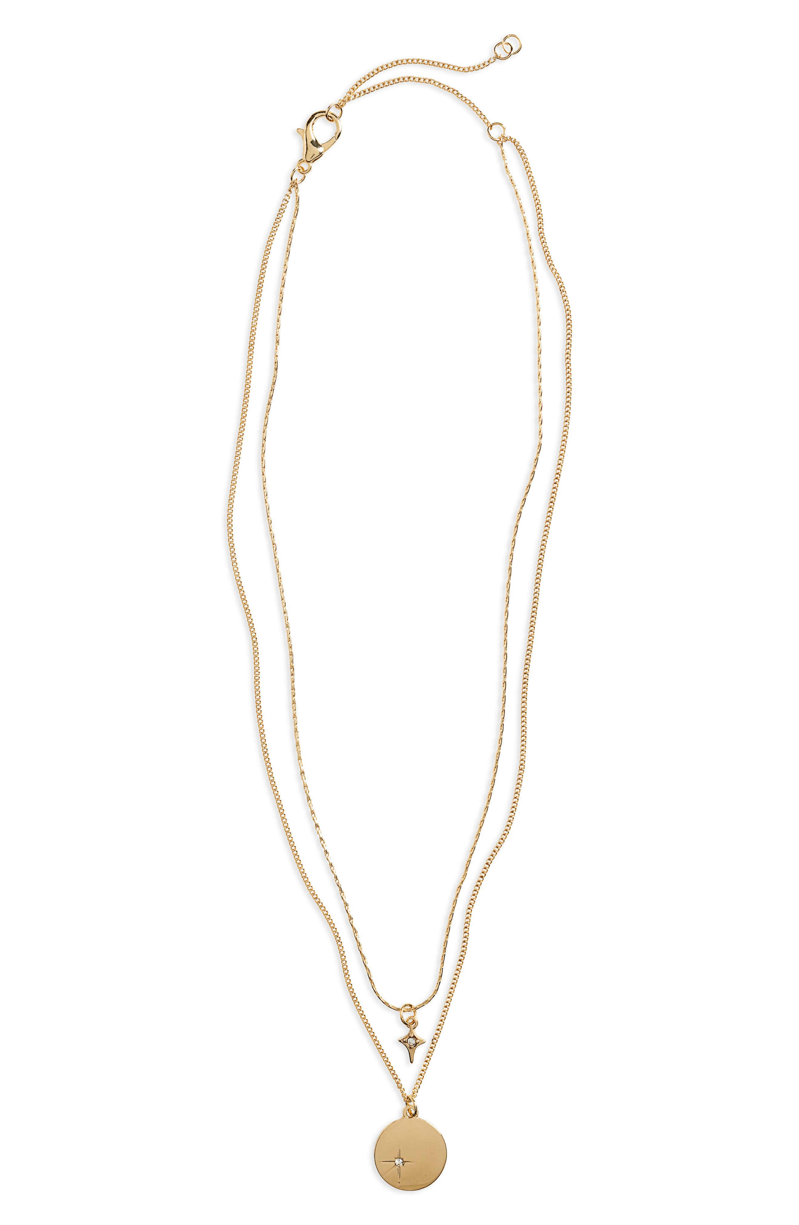 2-Layer Star Necklace, Main, color, 710