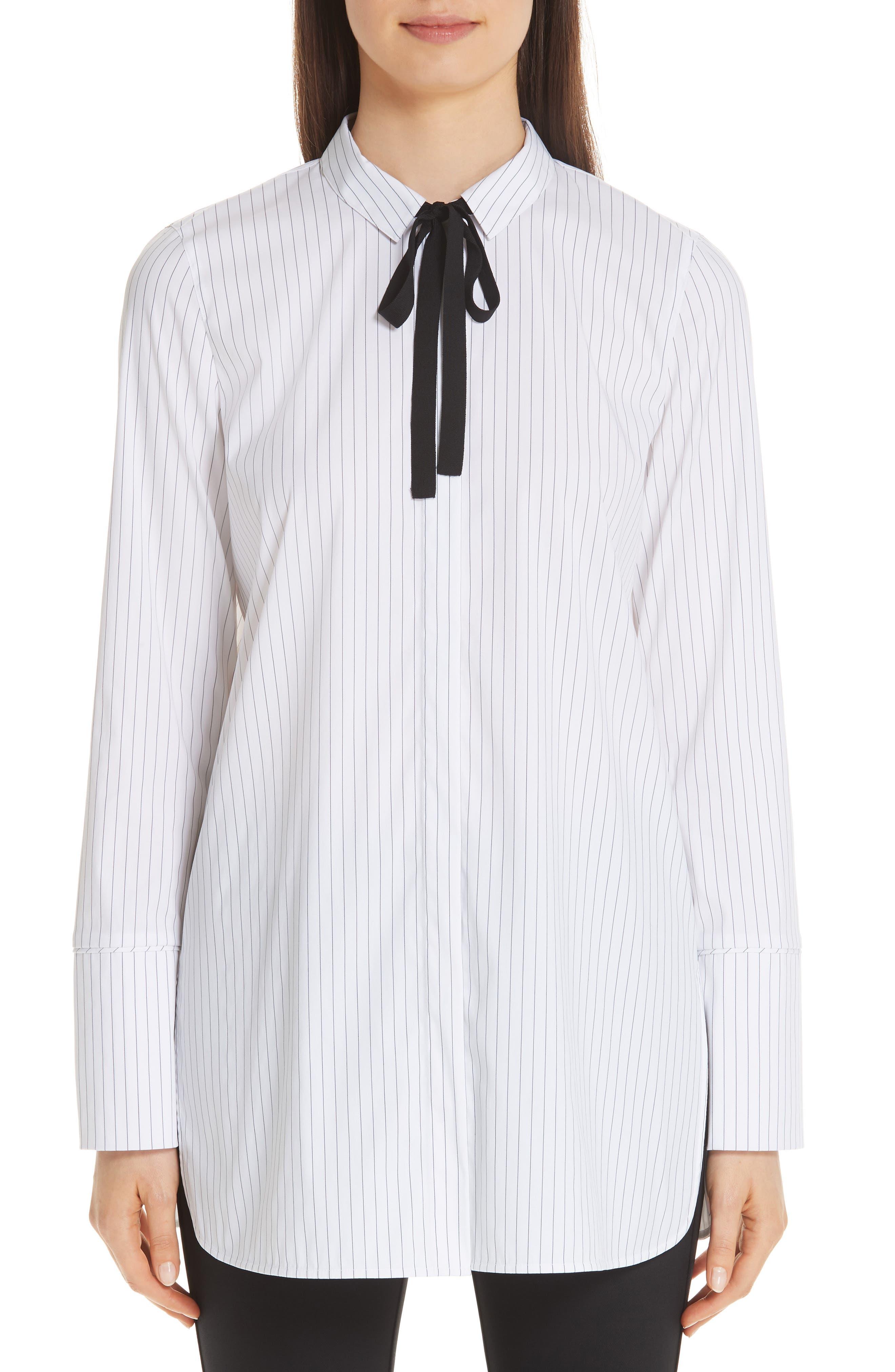 Annaleise Contrast Tie Stanford Stripe Blouse,                             Alternate thumbnail 4, color,                             BLACK MULTI