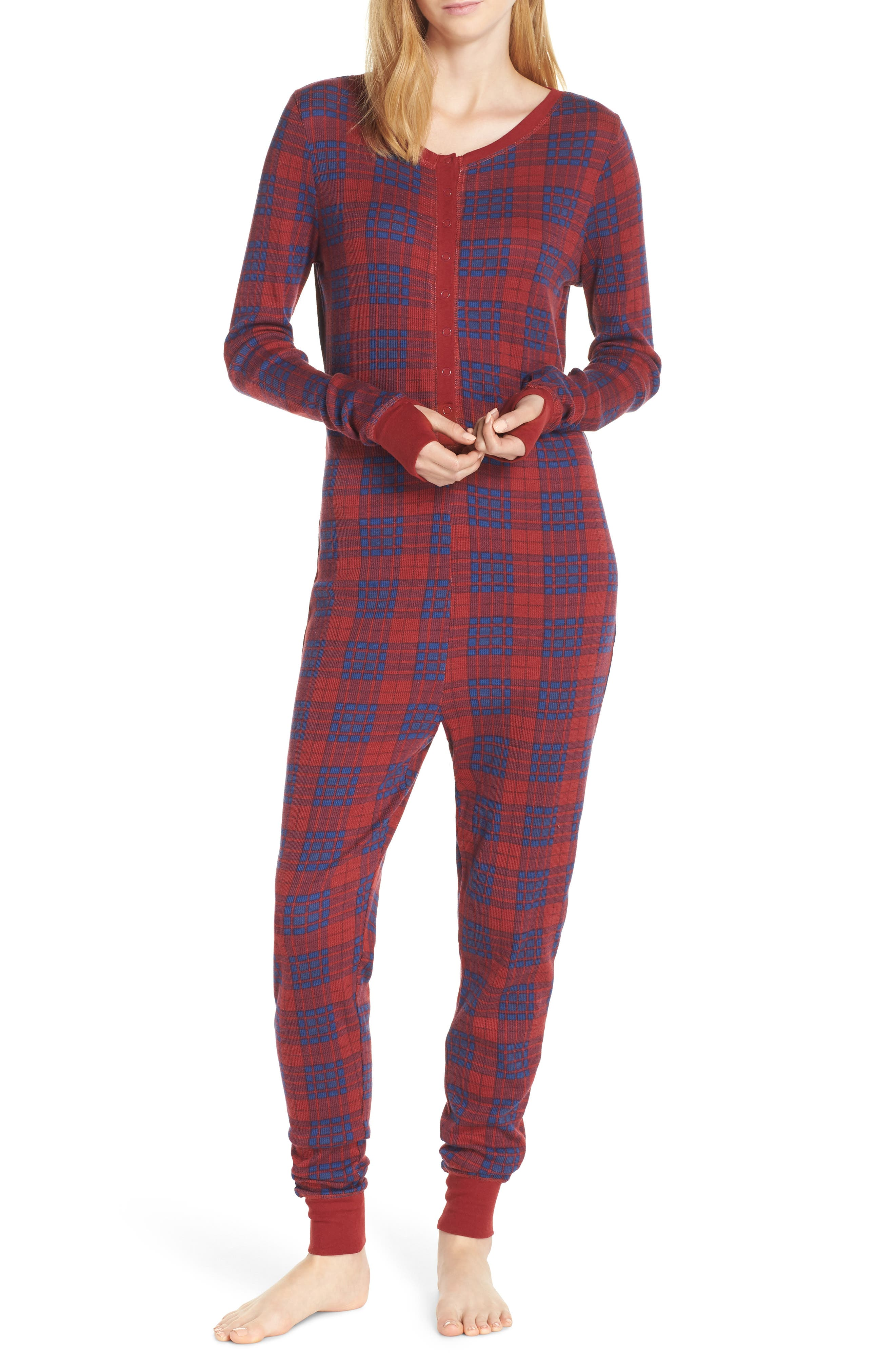 Retrospective Co. Thermal Pajama Jumpsuit, Burgundy