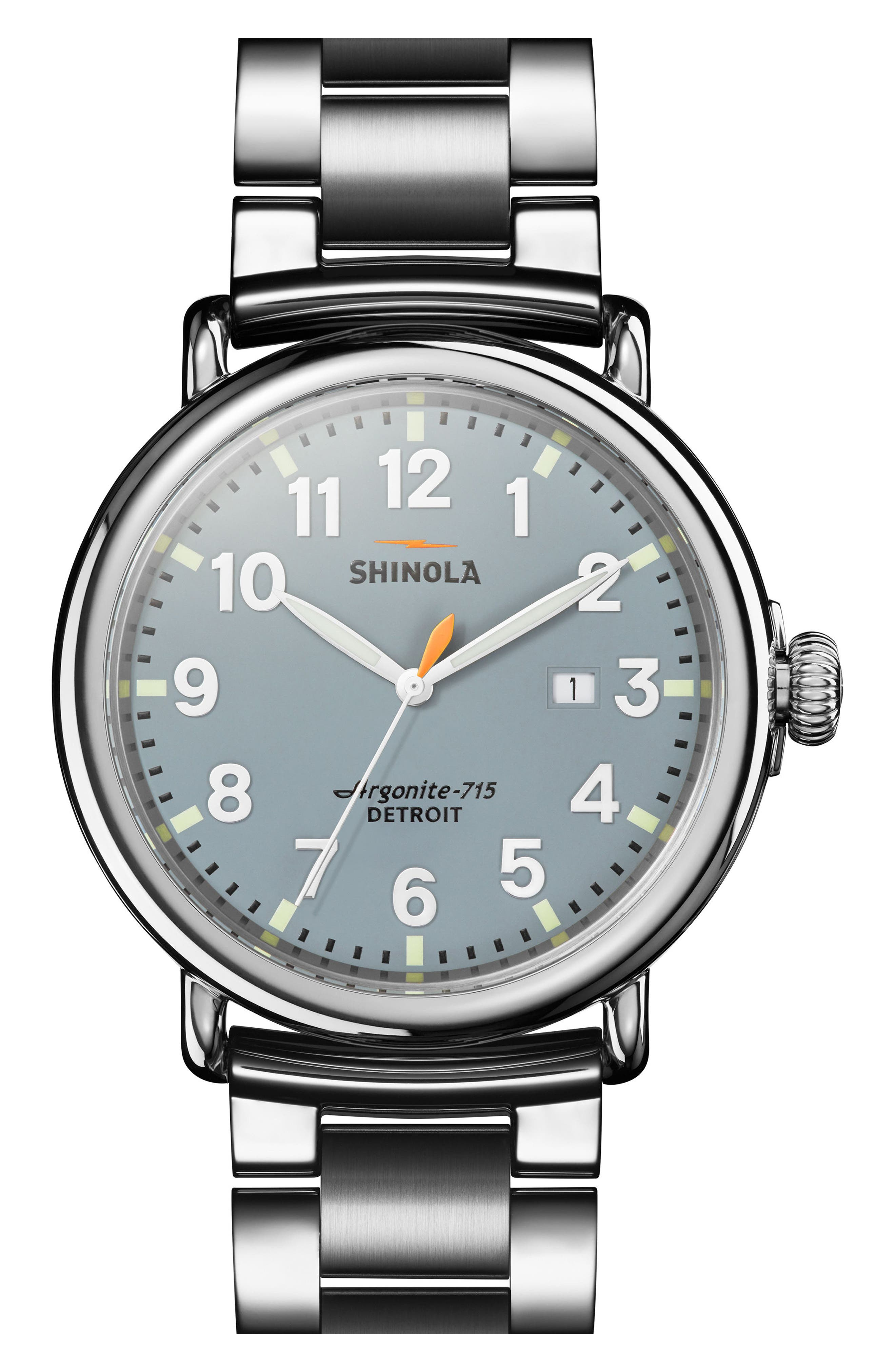 The Runwell Bracelet Watch, 47mm,                             Main thumbnail 1, color,                             SILVER/ SLATE BLUE/ SILVER
