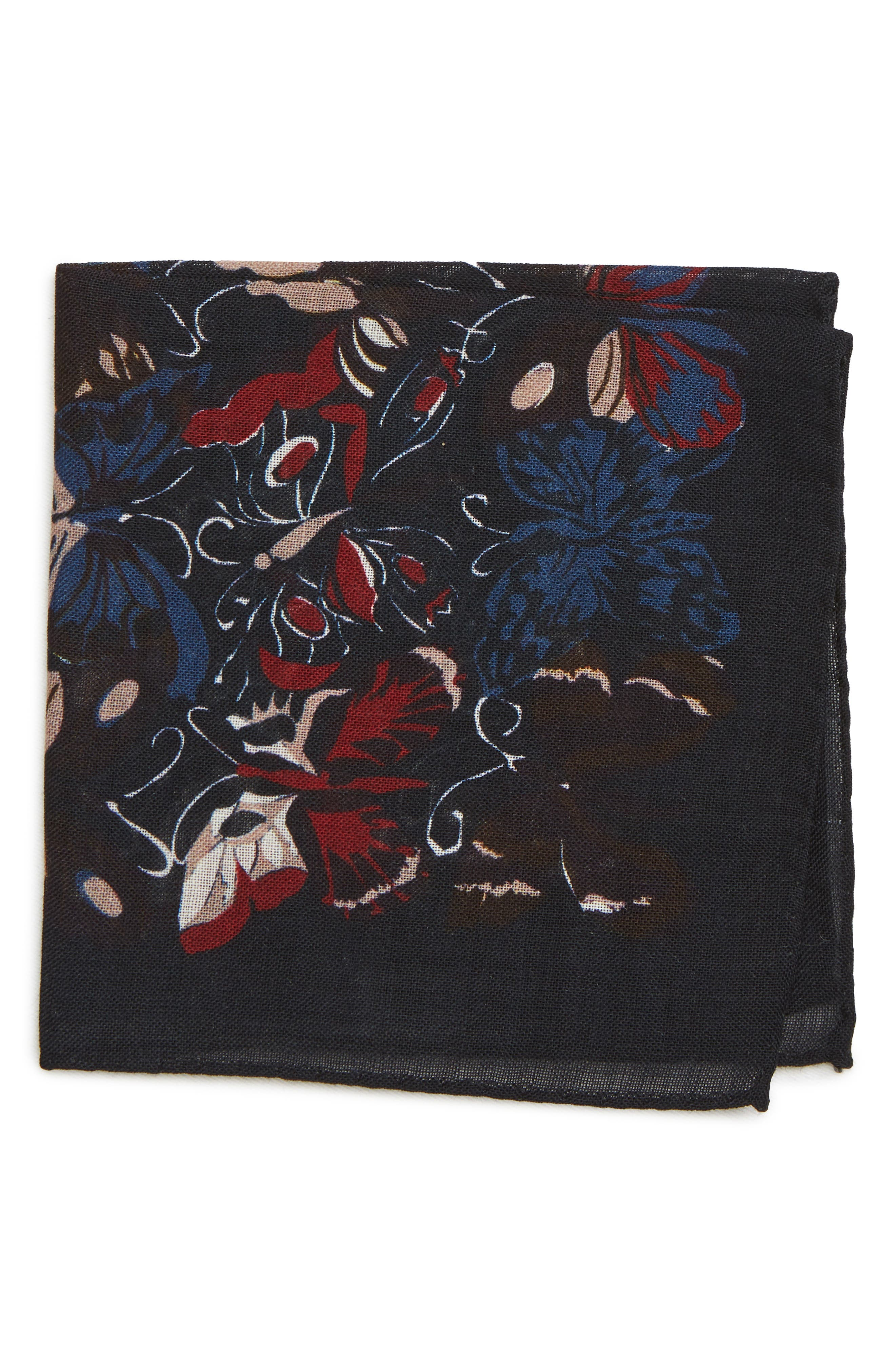 Butterfly Print Wool Pocket Square,                         Main,                         color, BUTTERFLY NIGHT