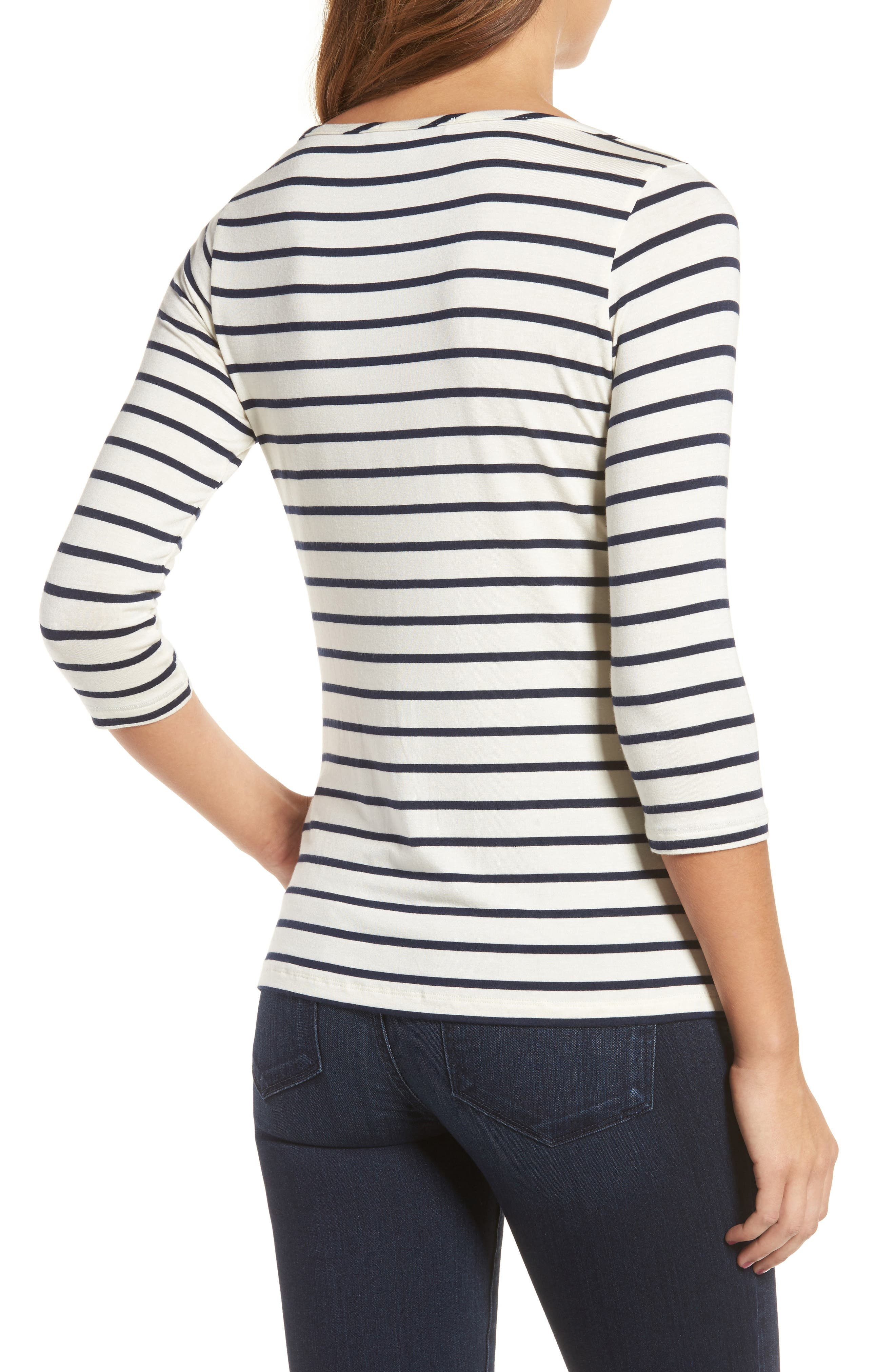 Francoise Stretch Jersey Top,                             Alternate thumbnail 2, color,                             MARINE STRIPE