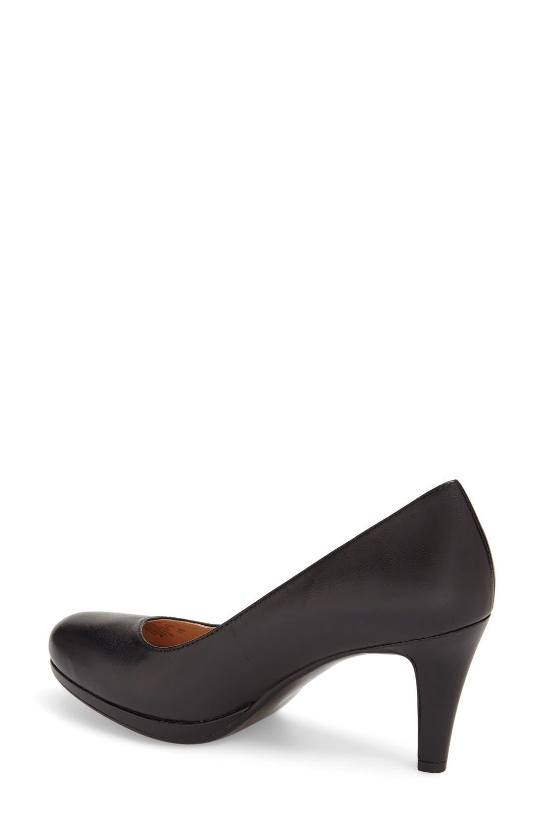 'Michelle' Almond Toe Pump,                             Alternate thumbnail 4, color,                             BLACK LEATHER