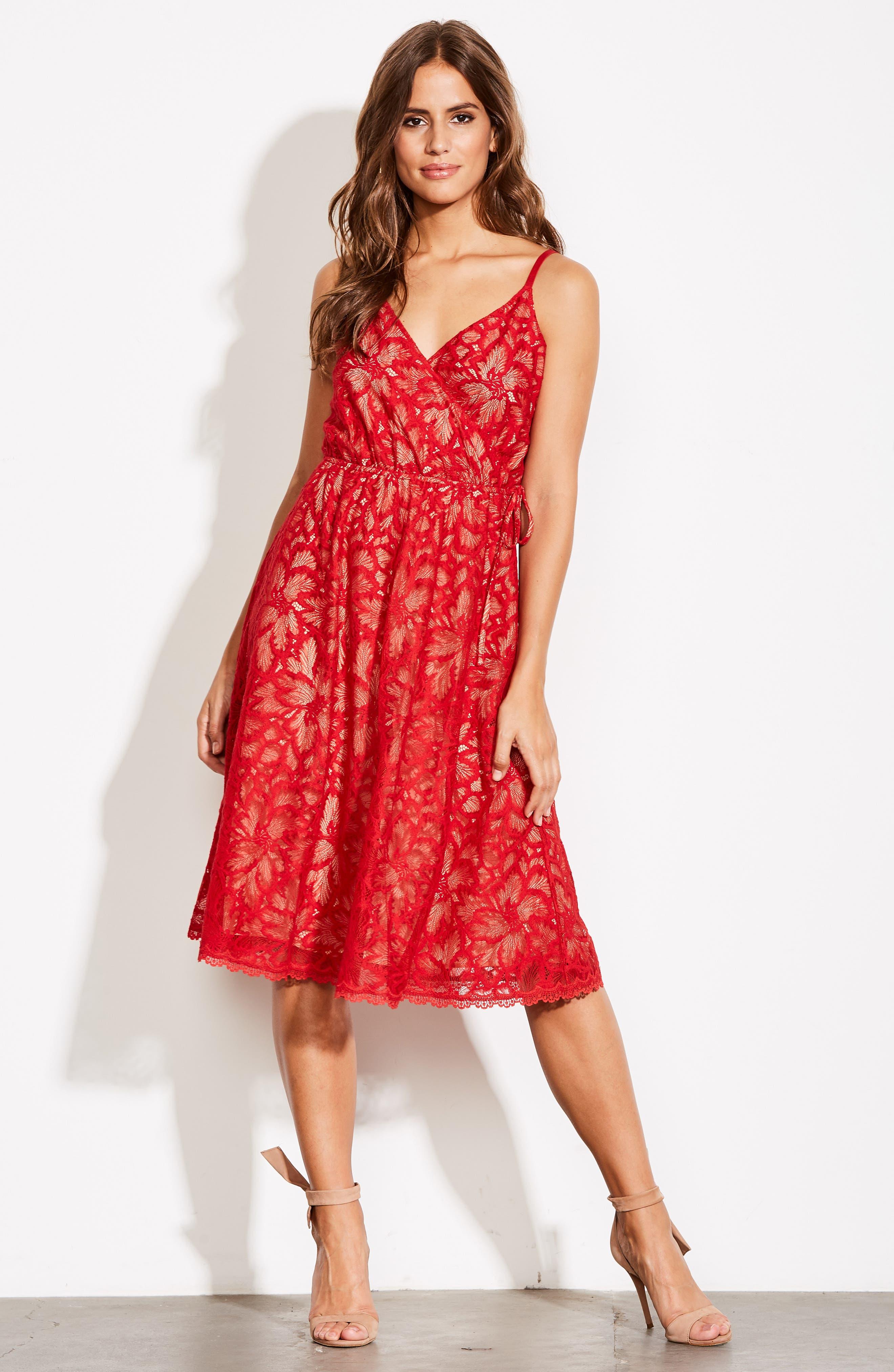 ALI & JAY,                             Cheek to Cheek Lace Midi Dress,                             Alternate thumbnail 8, color,                             SCARLET
