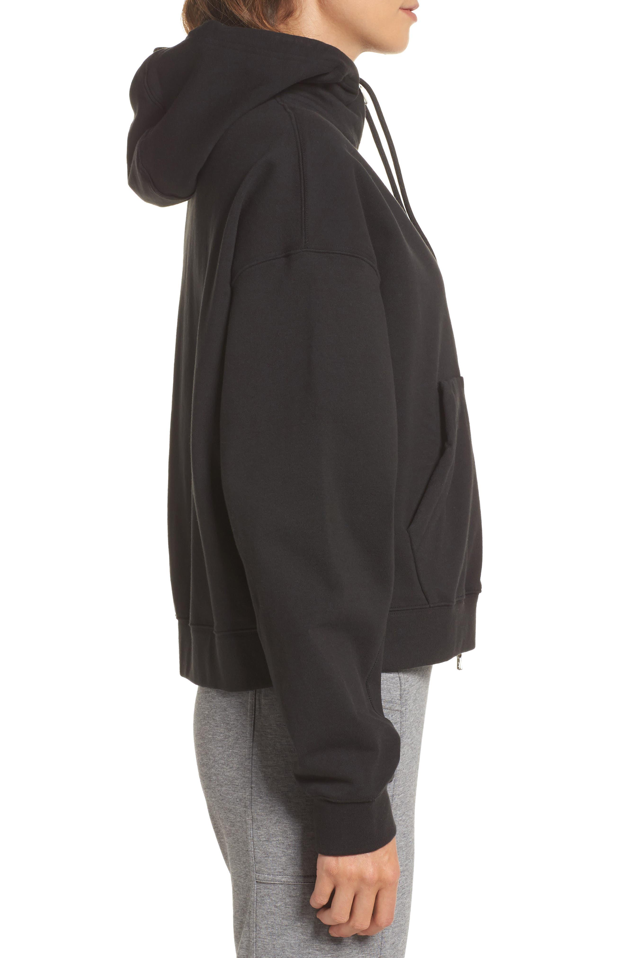 NikeLab Essentials Women's Zip Hoodie,                             Alternate thumbnail 3, color,                             BLACK/ BLACK