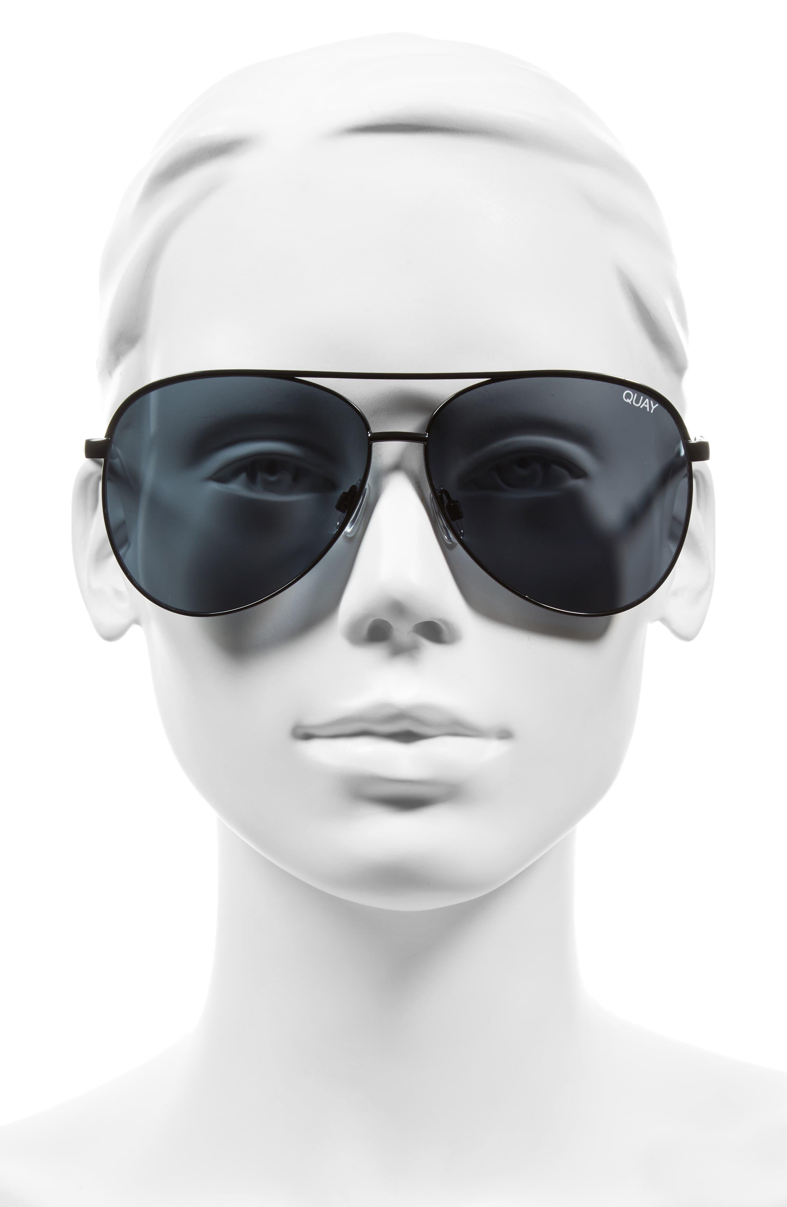 Vivienne 64mm Aviator Sunglasses,                             Alternate thumbnail 2, color,                             BLACK/ SMOKE