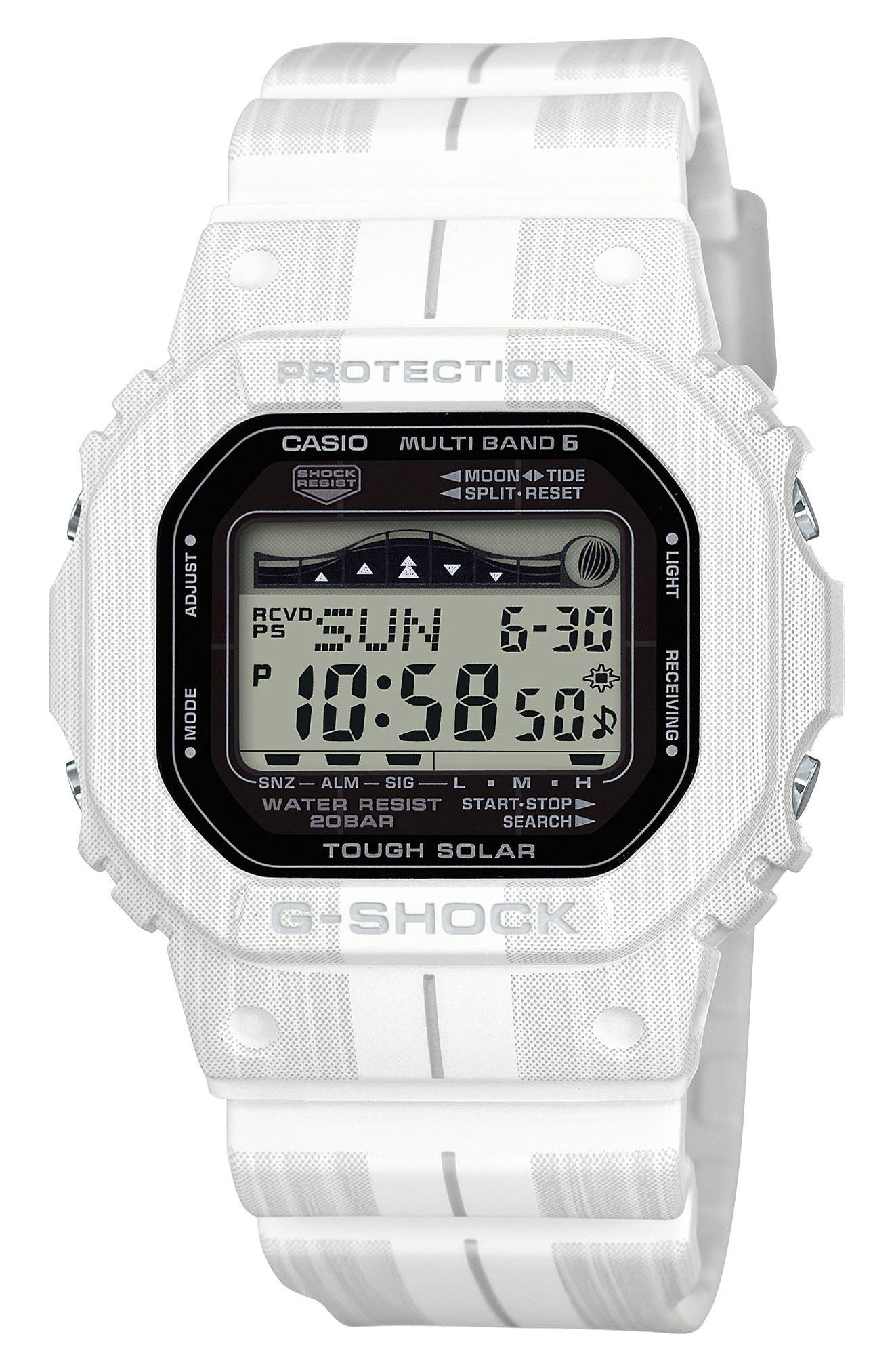 G-Shock Digital Solar Tide Graphic Watch, 42mm,                         Main,                         color, 100