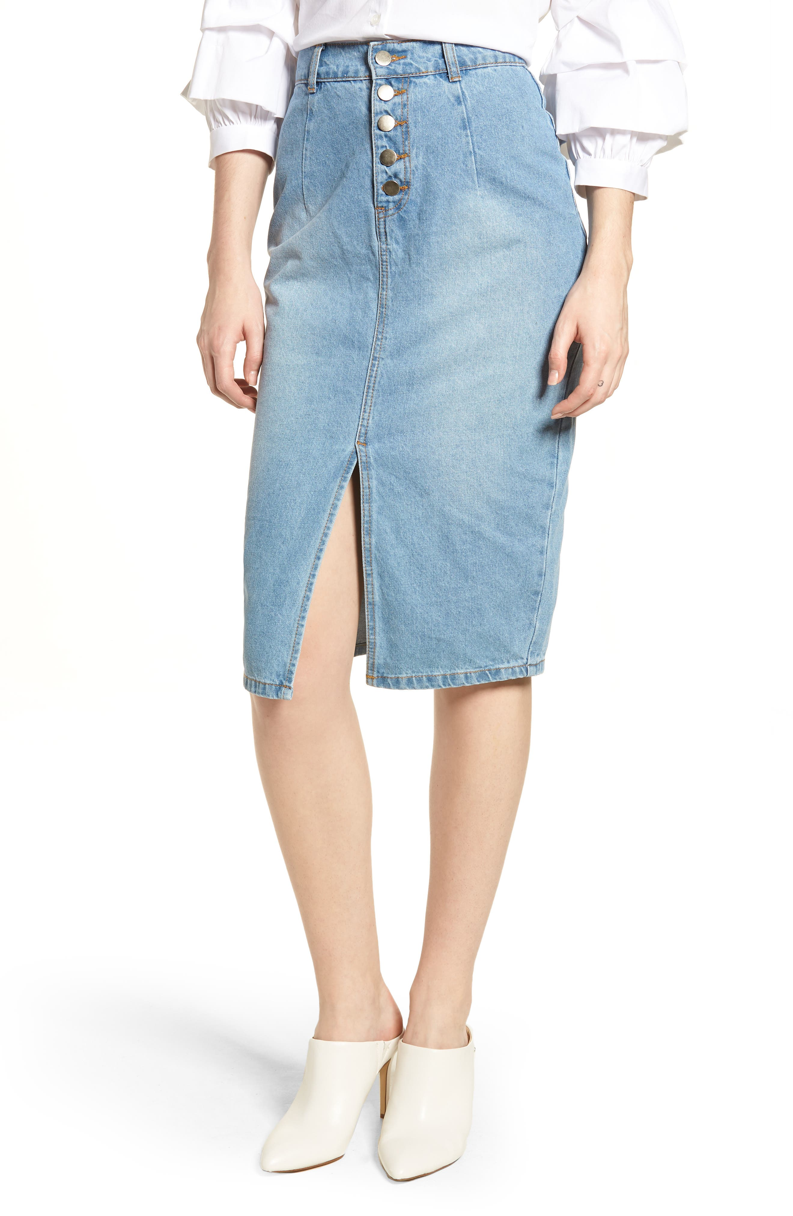 LOST INK Essential Button Front Denim SKirt, Main, color, 400
