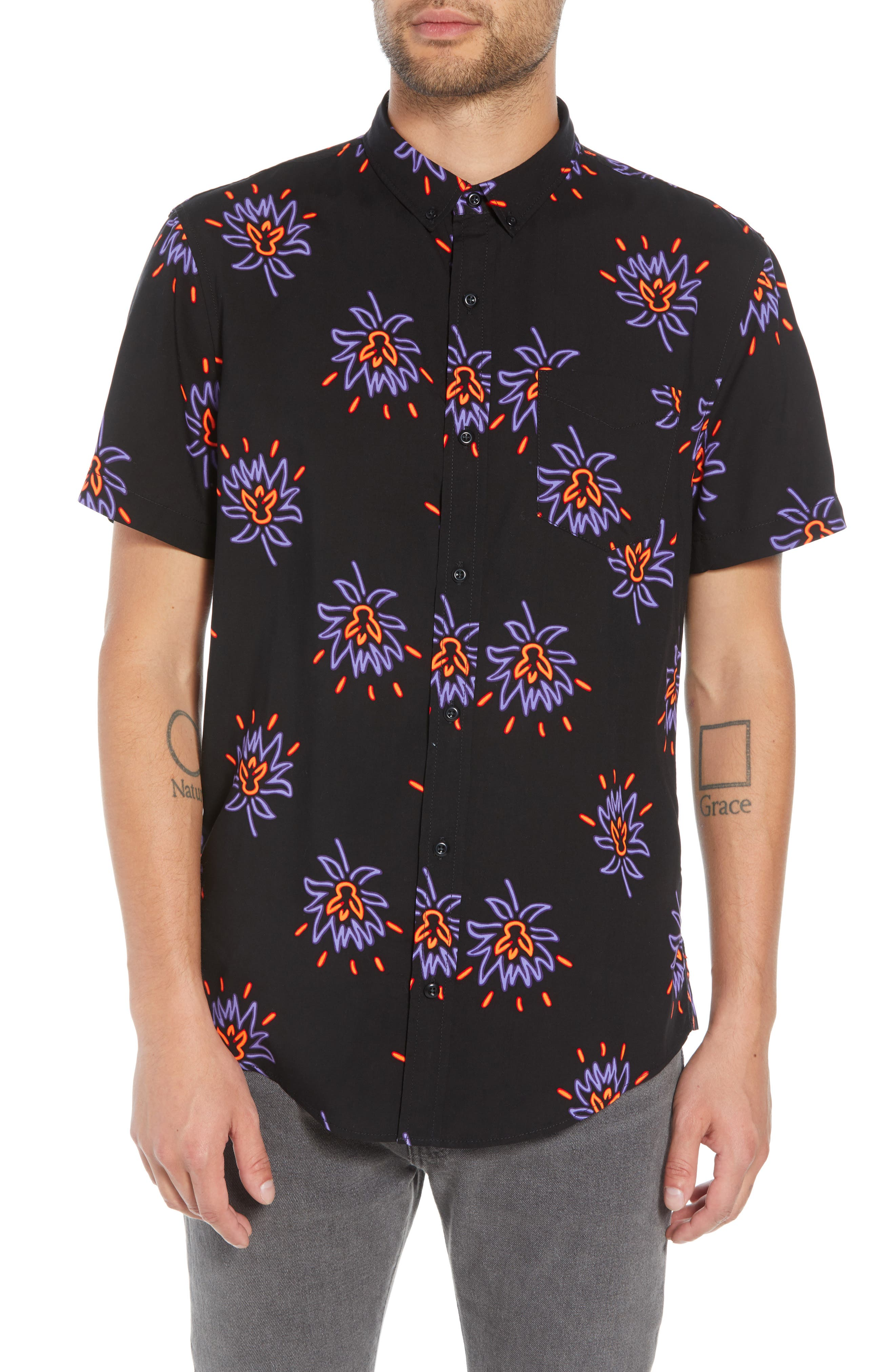 Neon Flower Print Woven Shirt,                             Main thumbnail 1, color,                             BLACK PURPLE NEON FLORAL