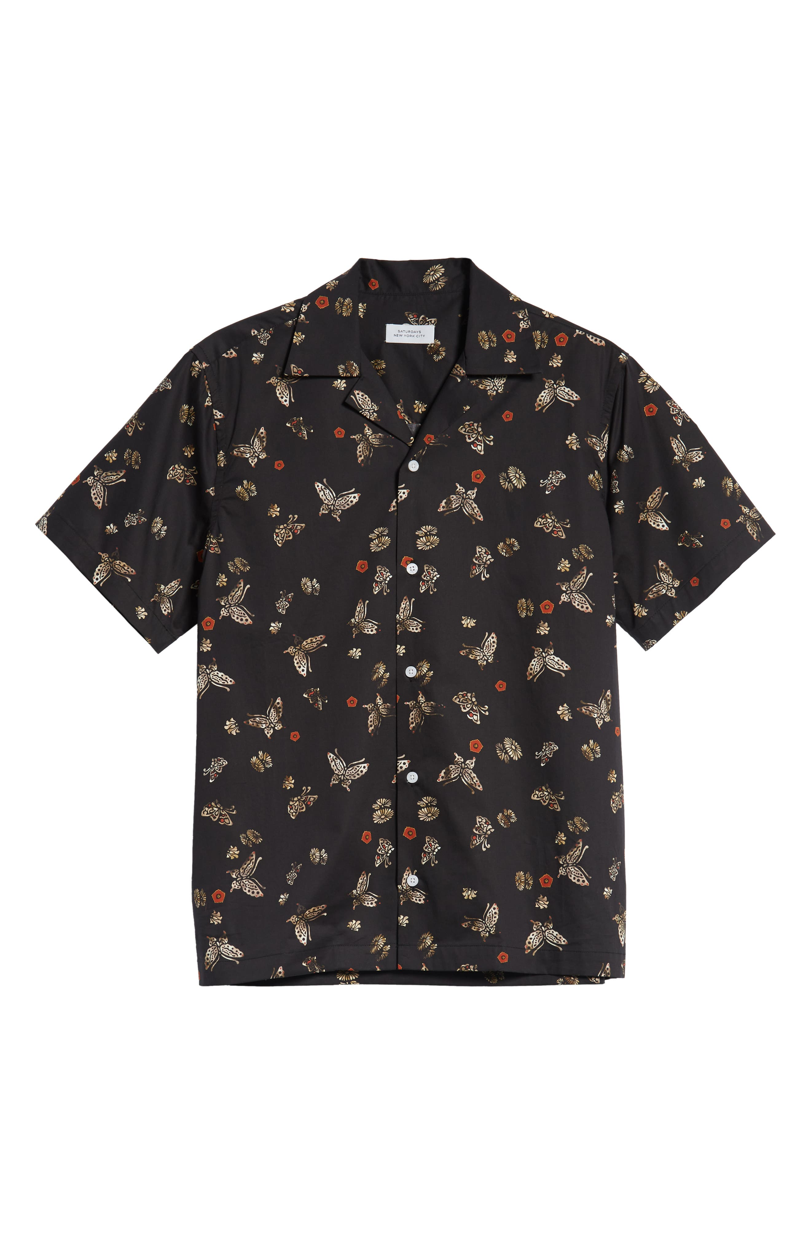 Canty Lacquer Butterfly Camp Shirt,                             Alternate thumbnail 5, color,                             LACQUER BUTTERFLY PRINT