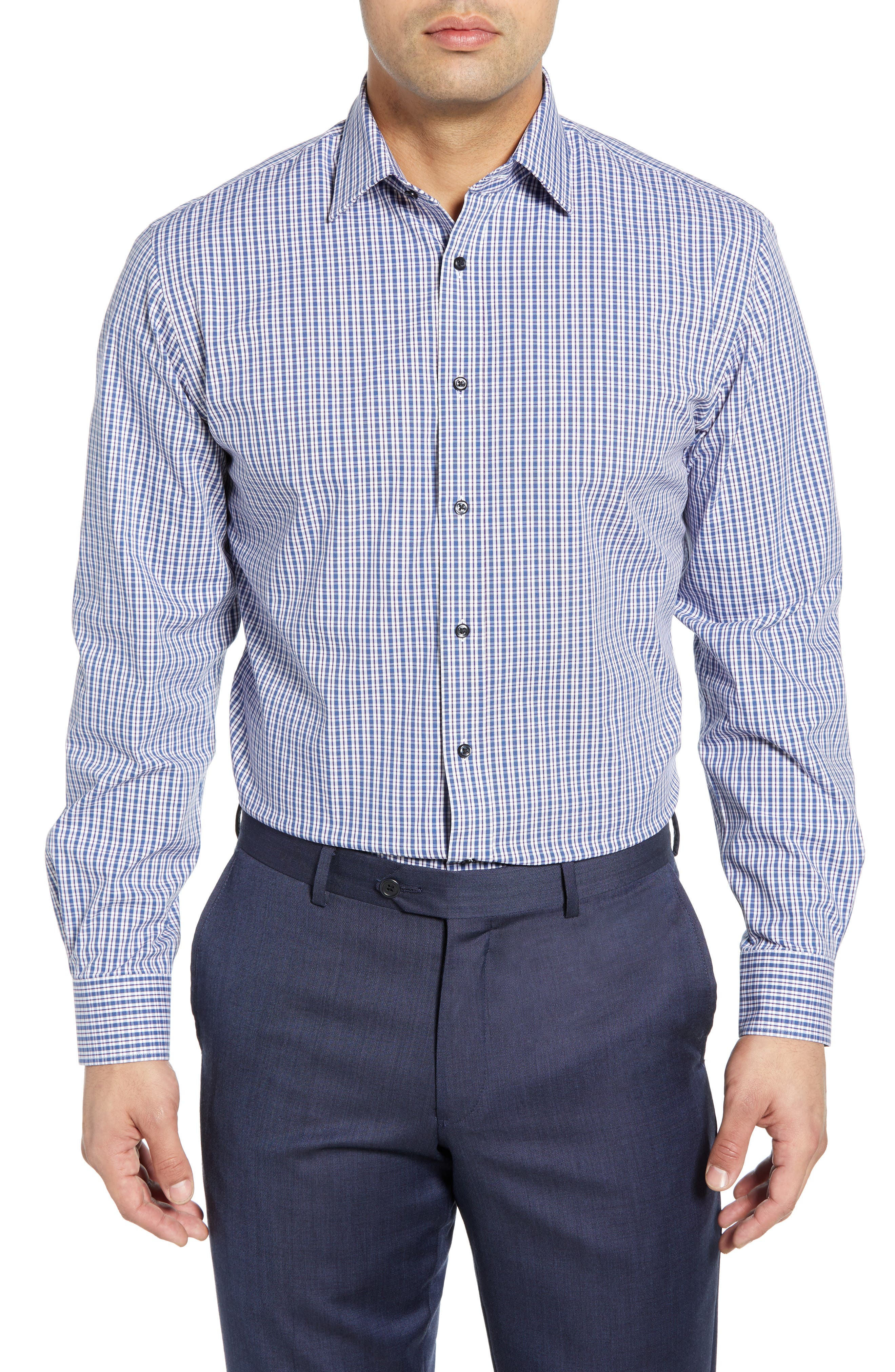 Tech-Smart Traditional Fit Plaid Stretch Dress Shirt, Main, color, NAVY DUSK