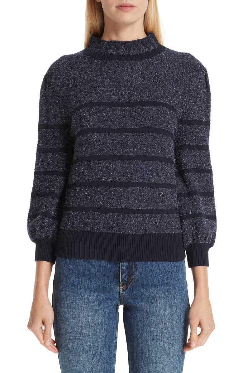 Co METALLIC STRIPE SWEATER