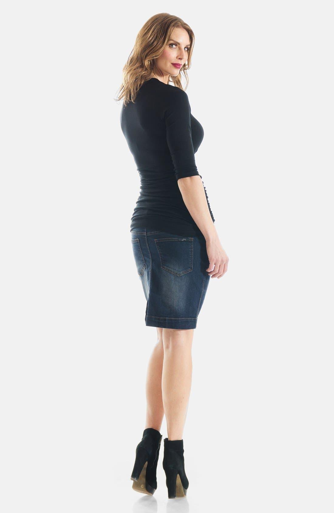 Denim Maternity Skirt,                             Alternate thumbnail 6, color,                             400